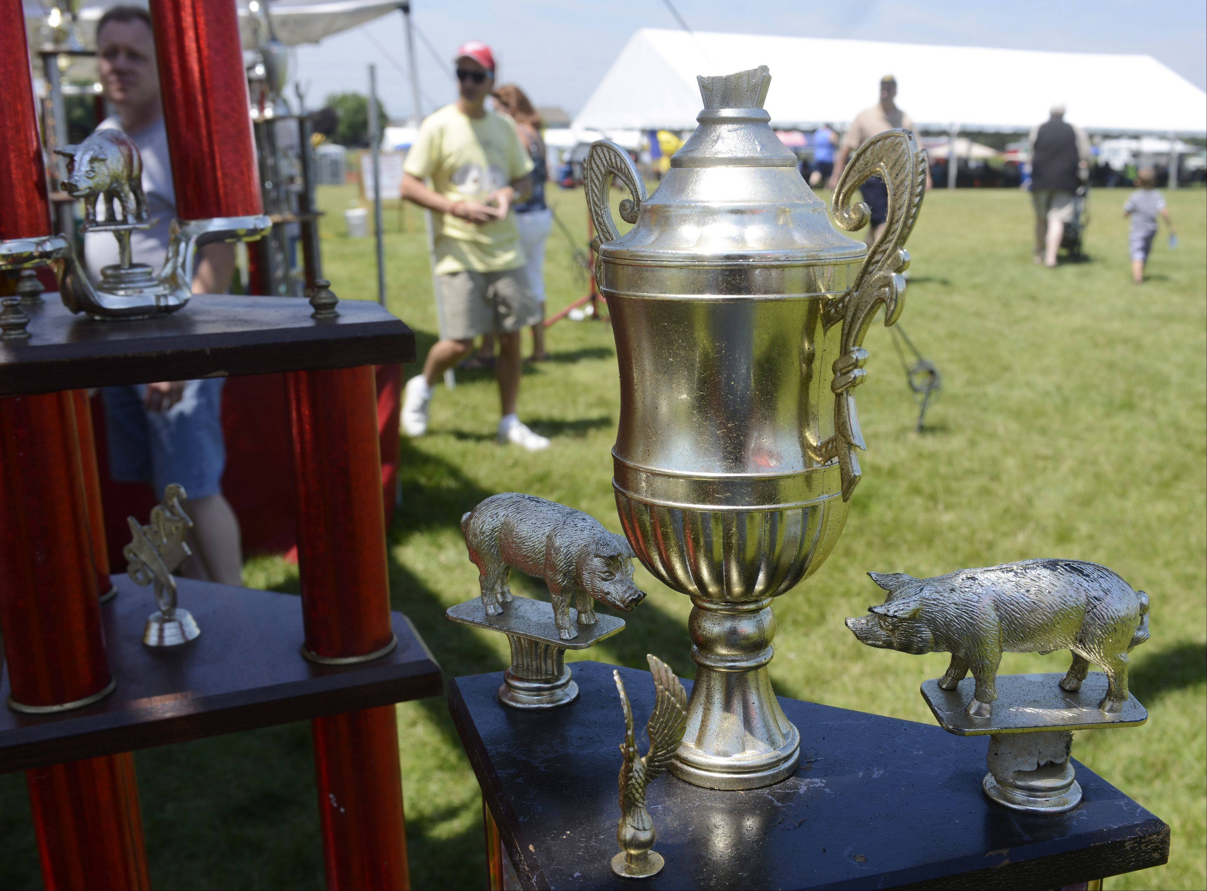 Trophies won at nationwide ribs competitions decorate the areas in front of vendor's tents.