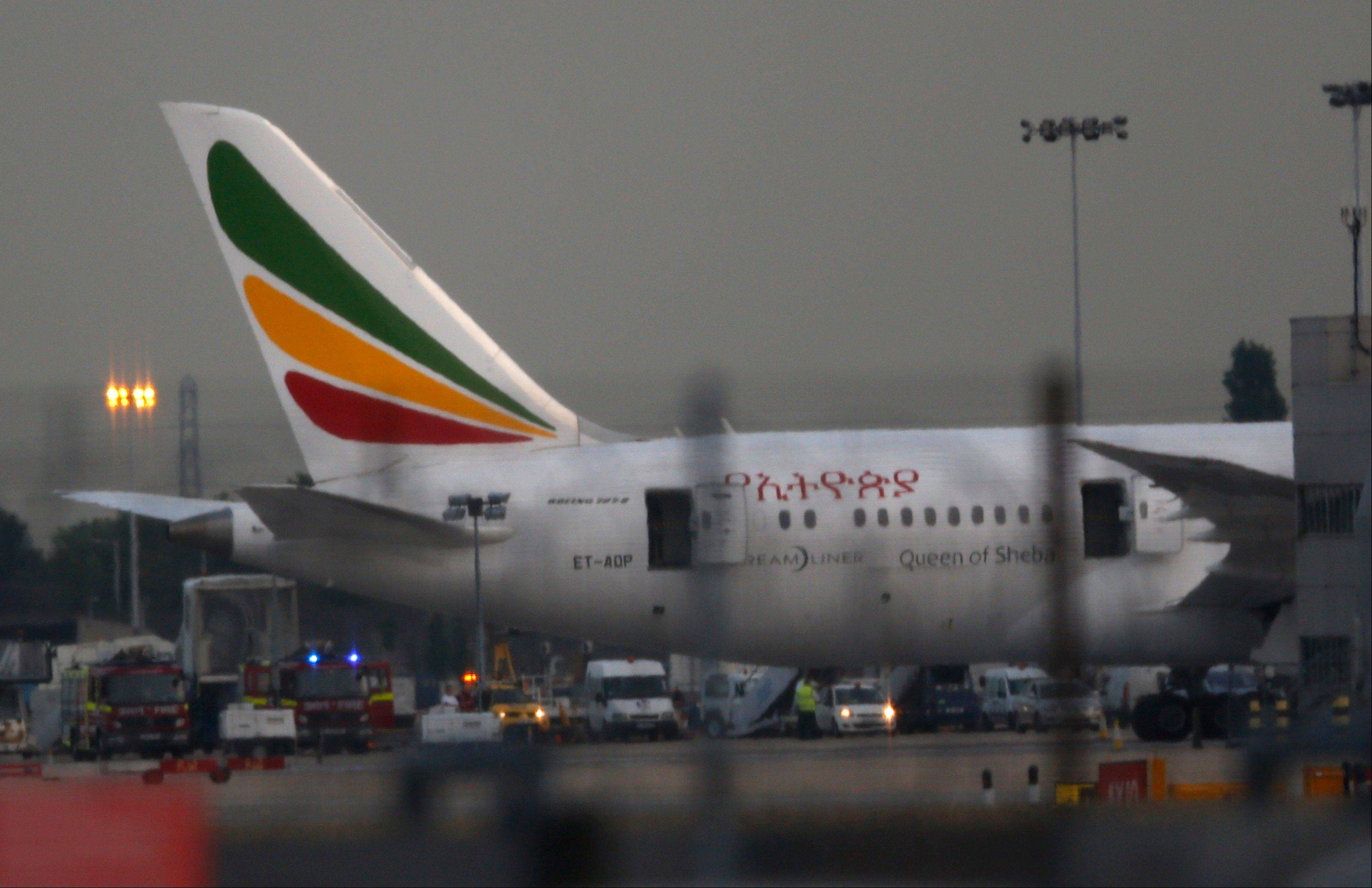 General view of the Air Ethiopian Boeing 787 Dreamliner 'Queen of Sheba' aeroplane, on the runway Friday near Terminal 3, at Heathrow Airport, London.