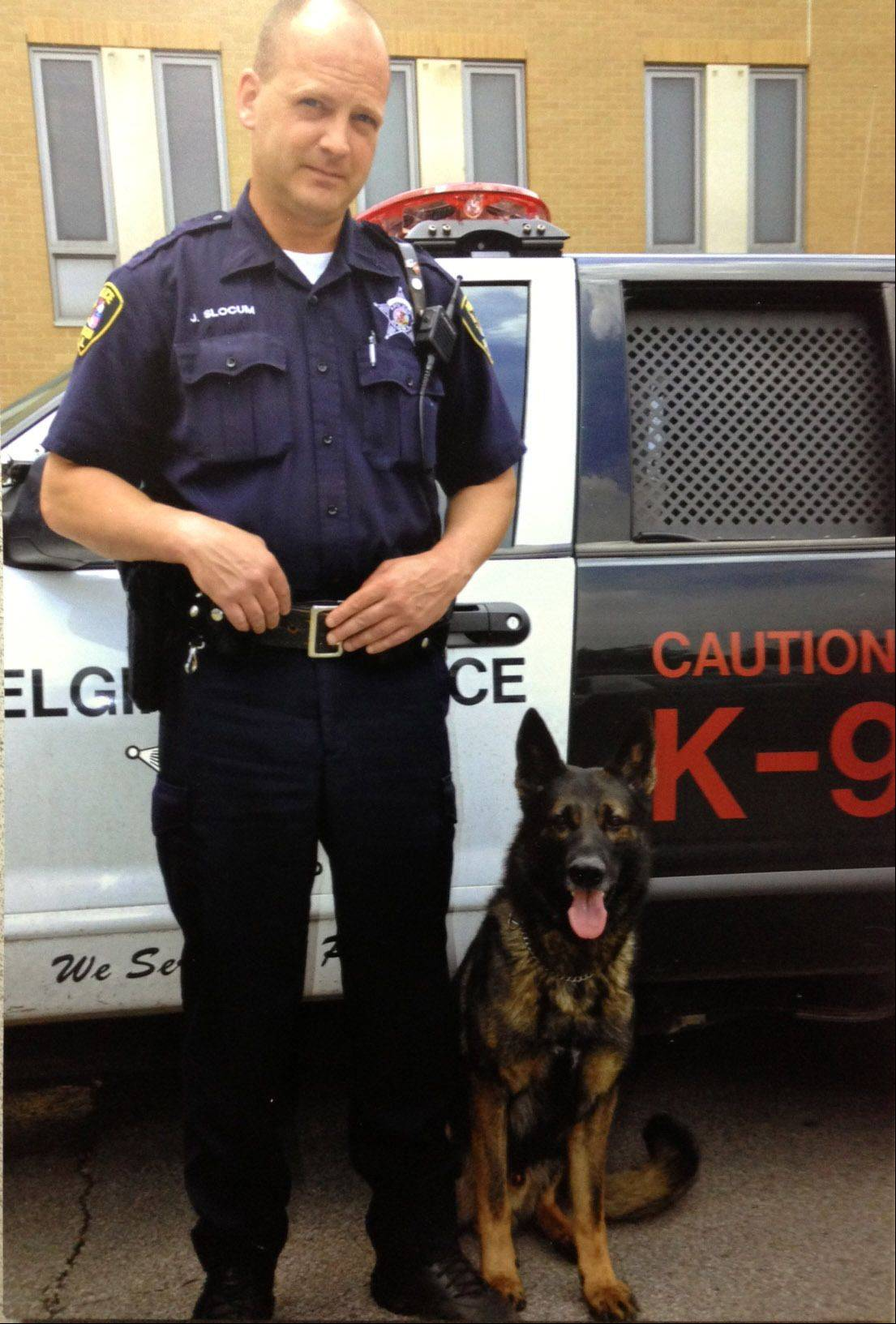 Elgin police officer John Slocum and Keiser, a German shepherd, were a K-9 unit in Elgin for six years. Keiser died on duty July 5 from cancer. Keiser was the first Elgin Police Department dog to die on duty. The department plans to create a memorial in its lobby to honor all service dogs that have worked in Elgin. Police officials still are determining whether to get another dog.