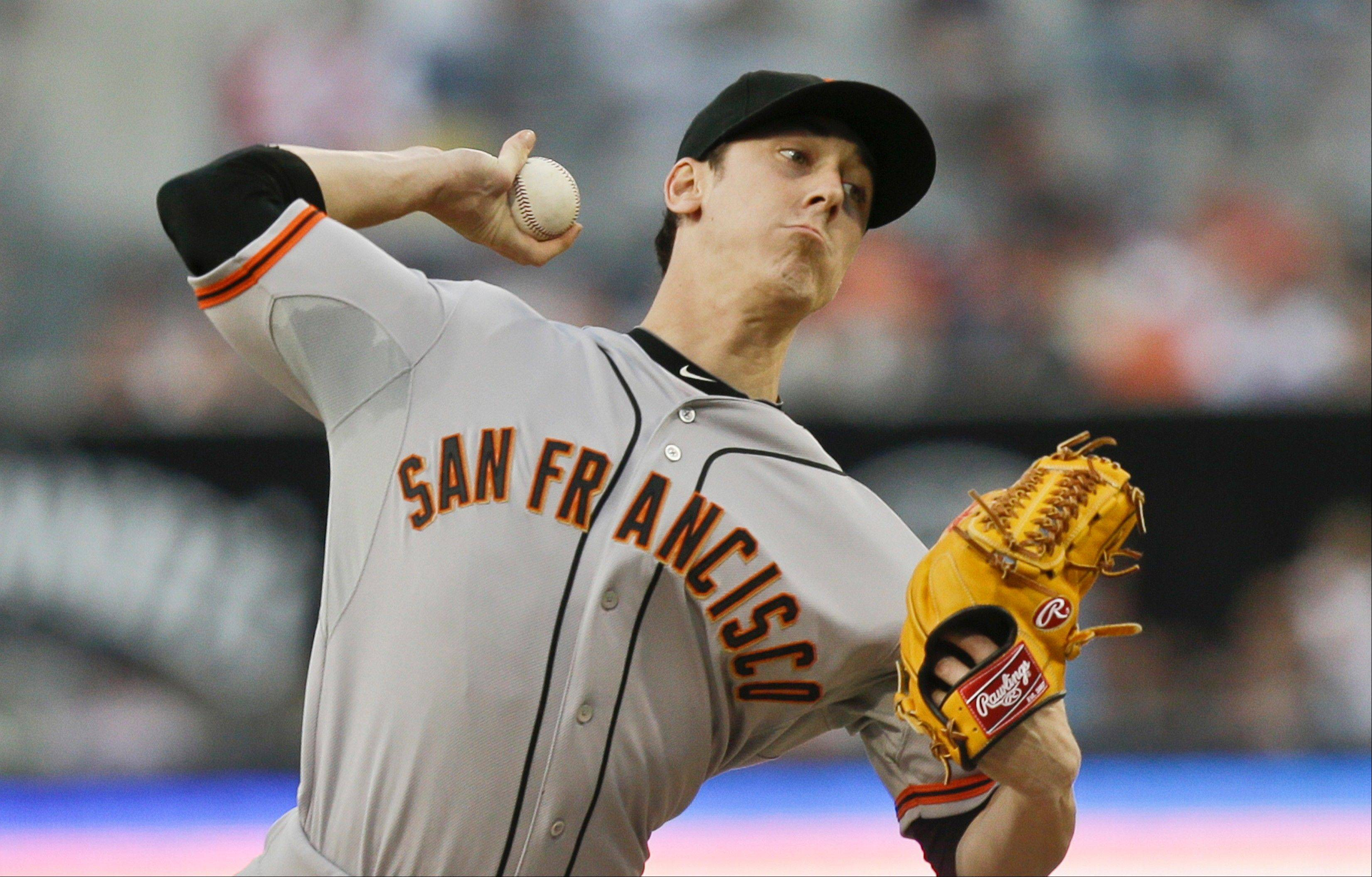 San Francisco Giants starting pitcher Tim Lincecum threw his first no-hitter against the Padres Saturday night, beating them 9-0 in San Diego.
