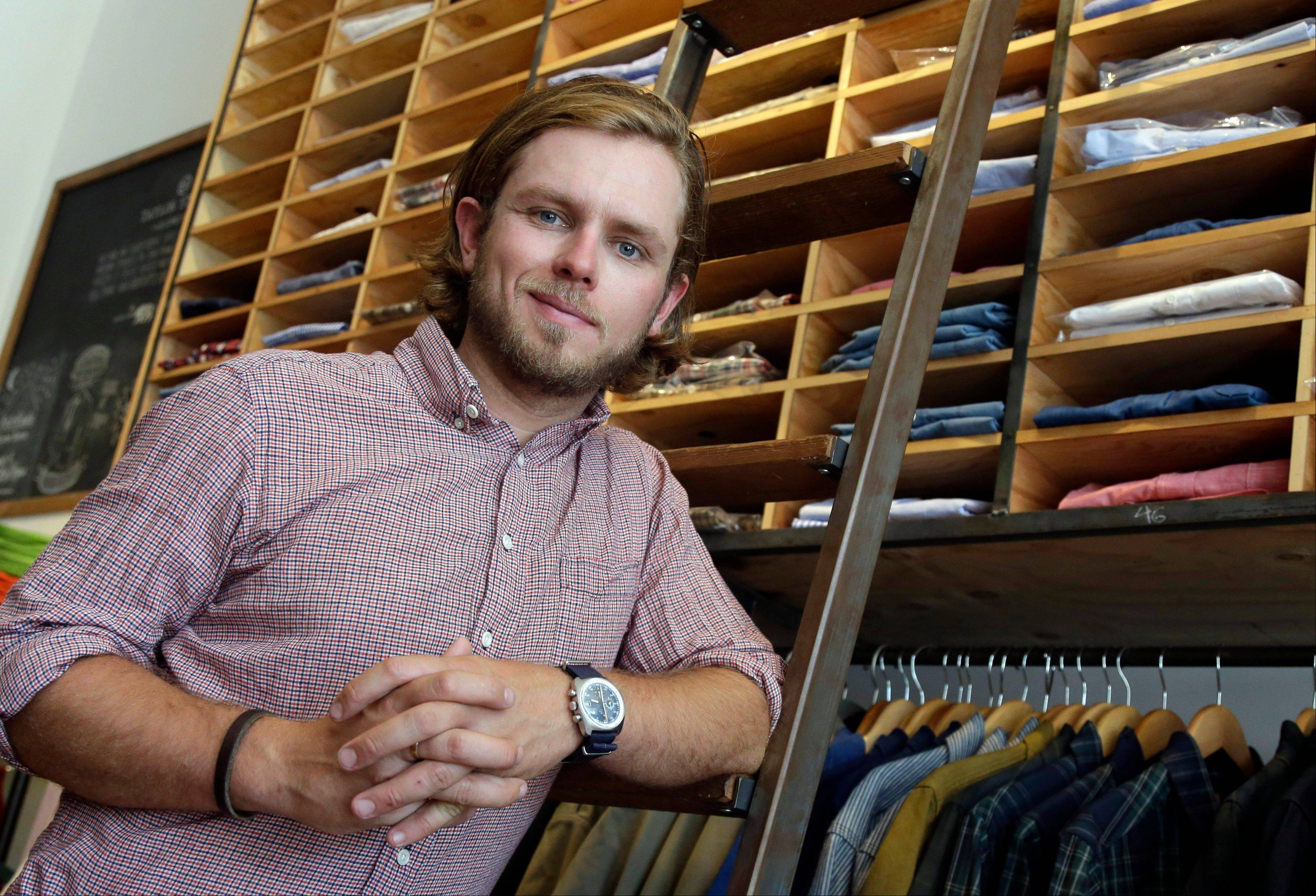 Michael Maher, co-owner of Taylor Stitch, poses for a portrait at his shop in San Francisco. Saving for retirement just isn't a priority for Michael Maher, 28, co-owner of Taylor Stitch, a four-year-old clothing retailer based in San Francisco. He and his partners used their own savings to start and build the company, and they're relying on their cash flow to buy inventory and run the business.