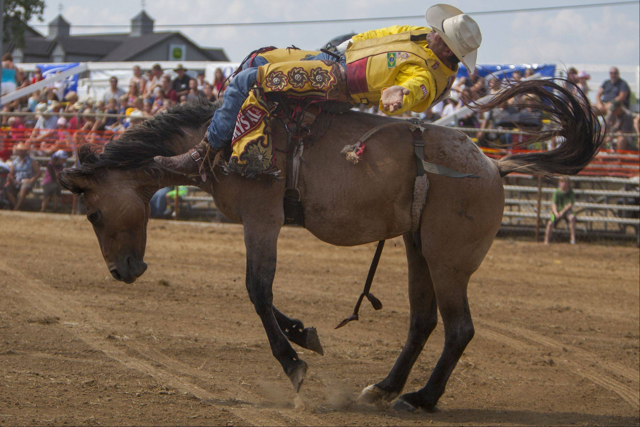 Luiz Morera, a three-time champion for bareback riding in Brazil, holds on as he is bucked in the air during last year's IPRA Championship Rodeo at Golden Oaks Rodeo Grounds in Wauconda.