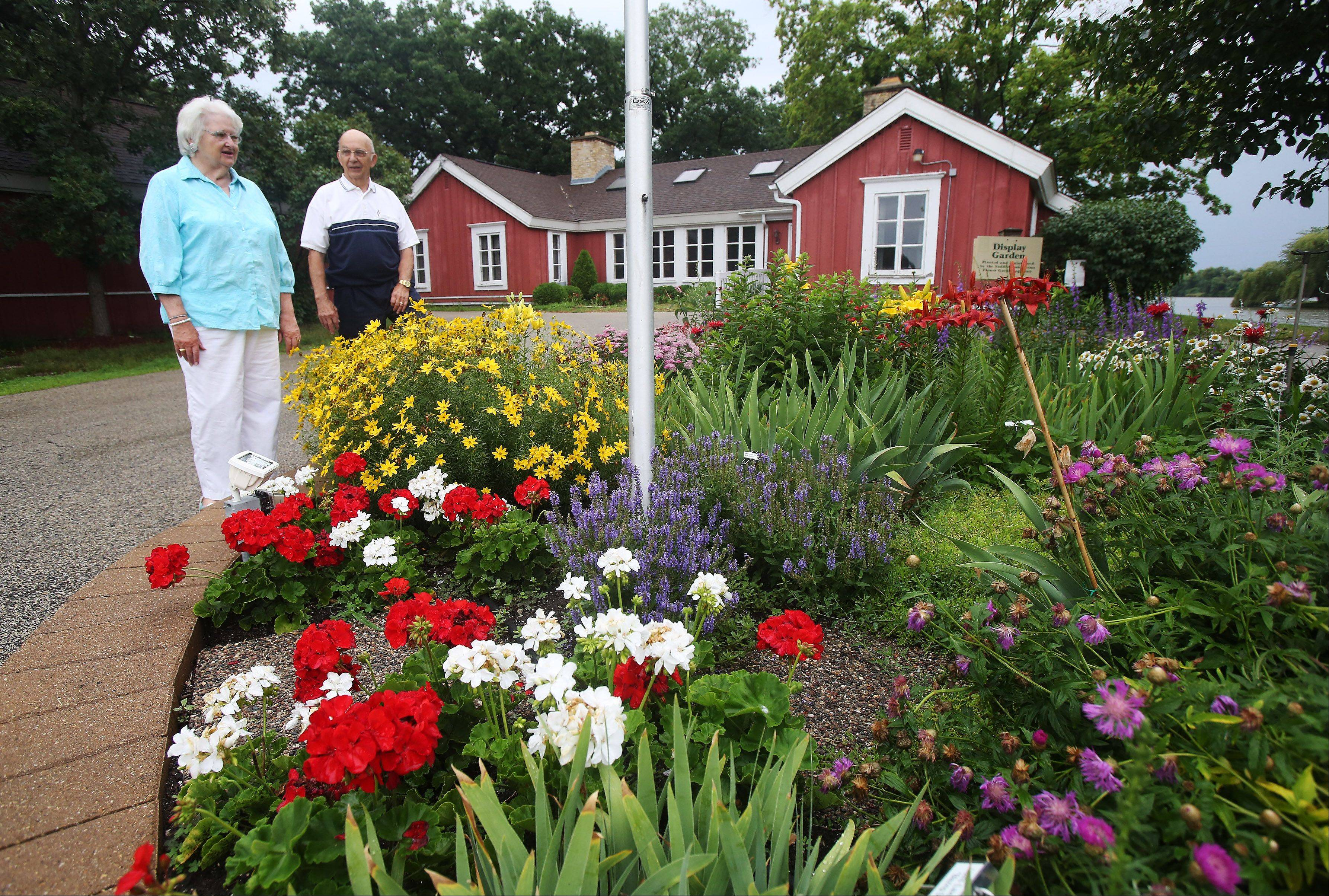 Pat Morelli, left, and Ron Barthuly look at the garden in front of the community center managed by the garden club at Saddlebrook Farms in Grayslake.