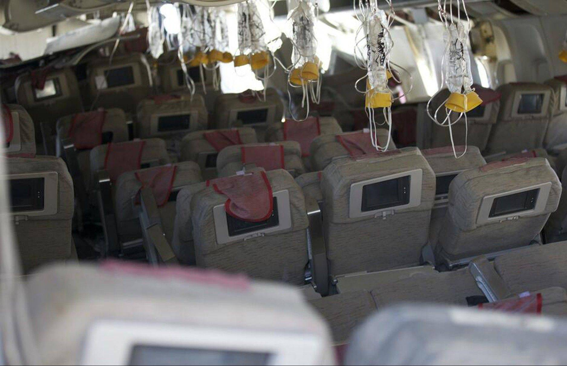 The interior of the Boeing 777 Asiana Airlines Flight 214 aircraft that crashed upon landing in San Francisco last week. Two of the 307 passengers aboard were killed.