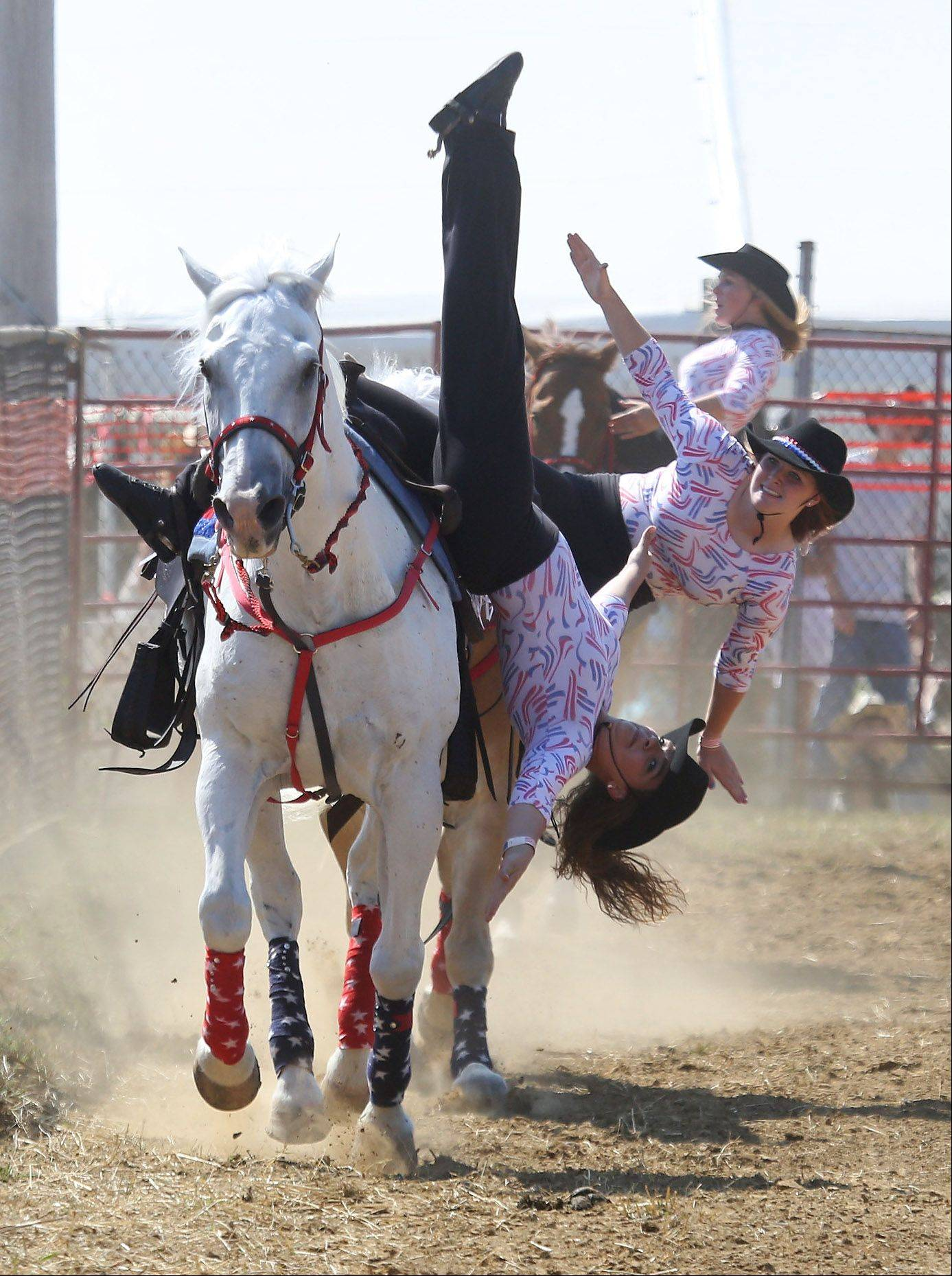 The drill team performs during the 50th Annual IPRA Championship Wauconda Rodeo Sunday at Green Oaks Rodeo Grounds. The Wauconda Area Chamber of Commerce sponsored the event that featured a mechanical bull, pony rides and calf roping as well as the rodeo show.