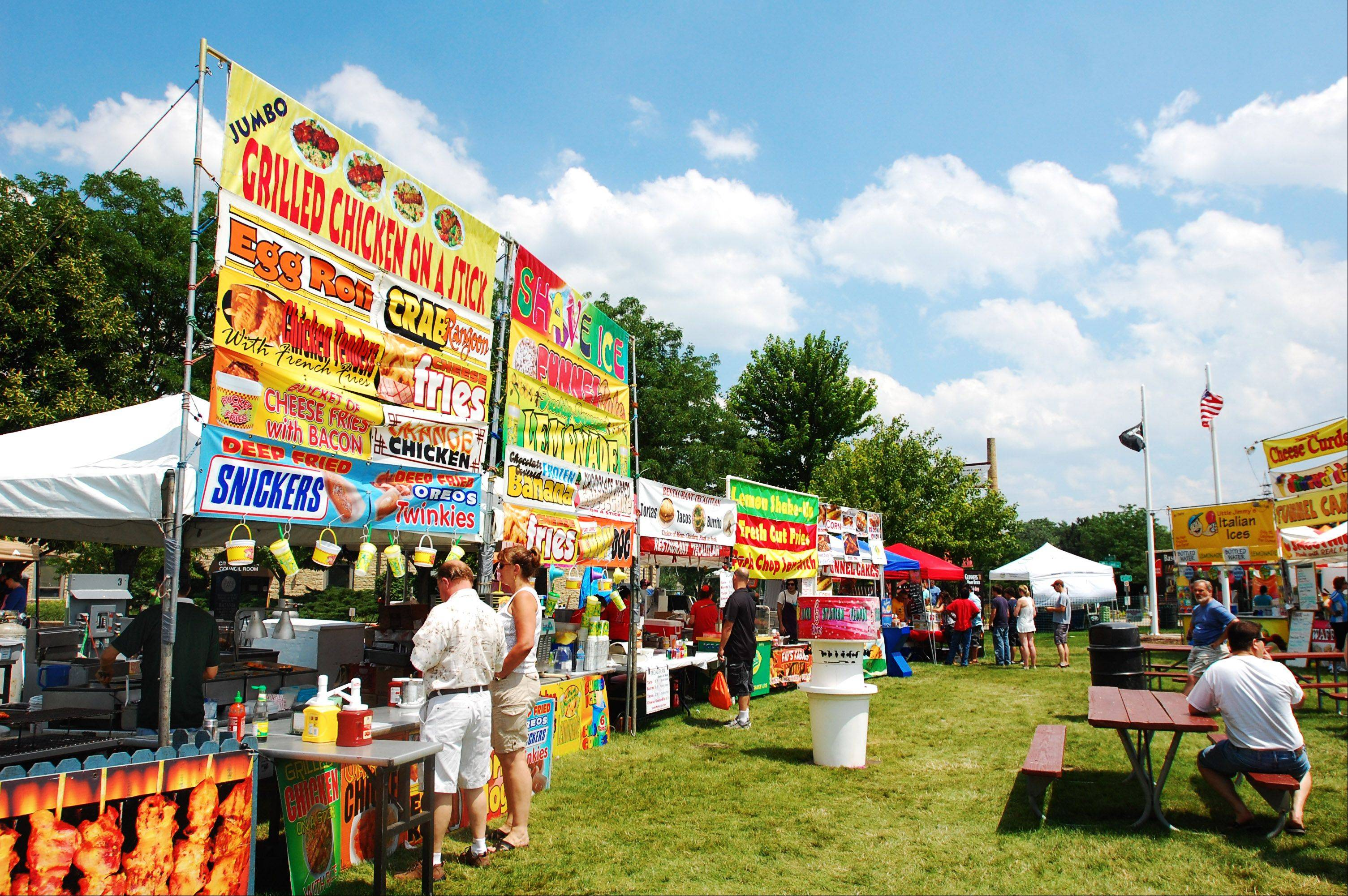 Vendors line the park in Batavia's Riverwalk Sunday, July 14 for the Windmill City Festival.