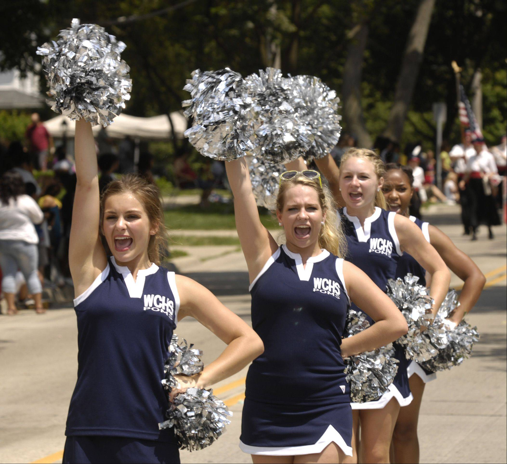 The West Chicago High School Poms march in the West Chicago Railroad days parade, Sunday.