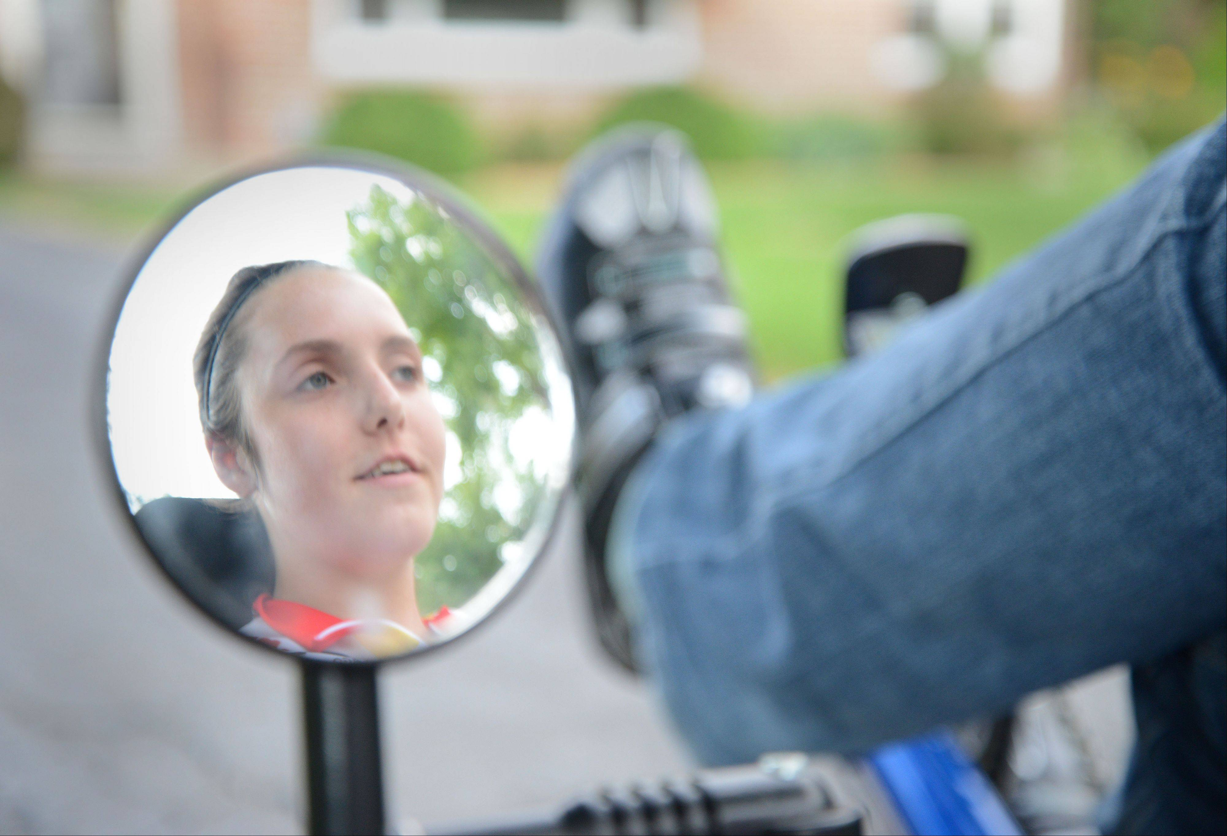 Diagnosed with an untreatable, incurable deadly disease that weakens her muscles and keeps her from playing all the sports she loved as a girl, 19-year-old Nicole Kramer of Villa Park won a custom three-wheel cycle that allows her to bike.