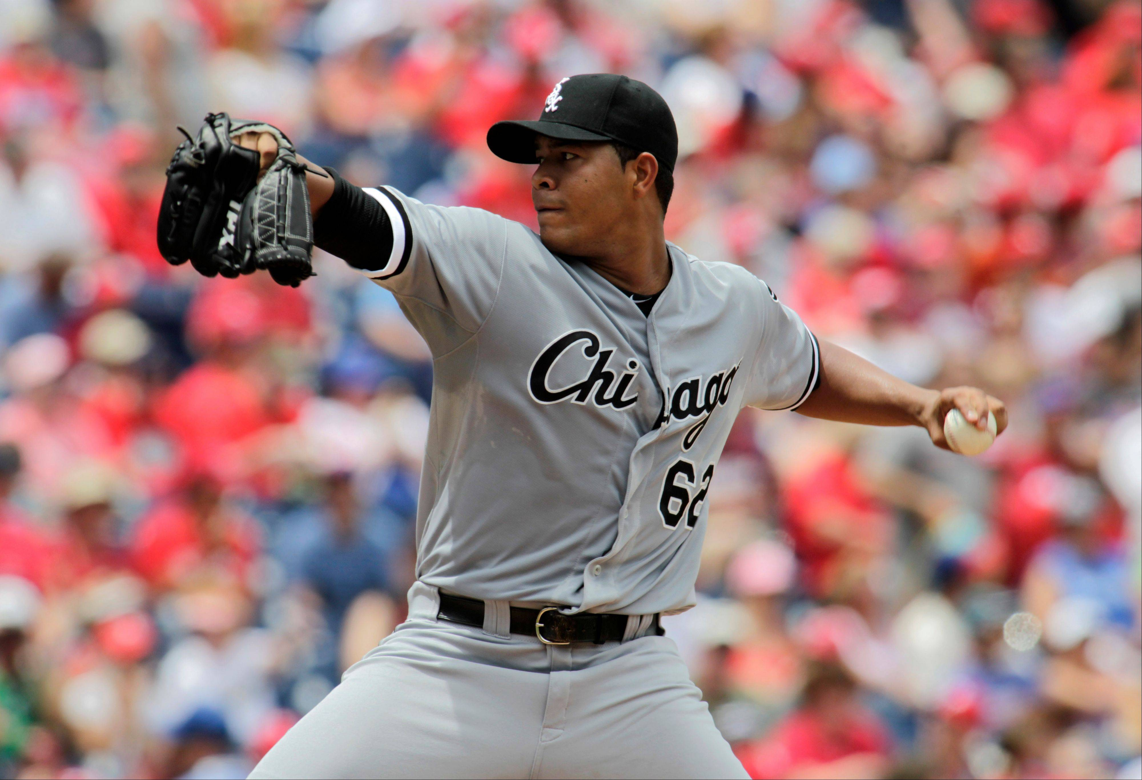 White Sox starting pitcher Jose Quintana throws against the Philadelphia Phillies in Sunday's first inning.