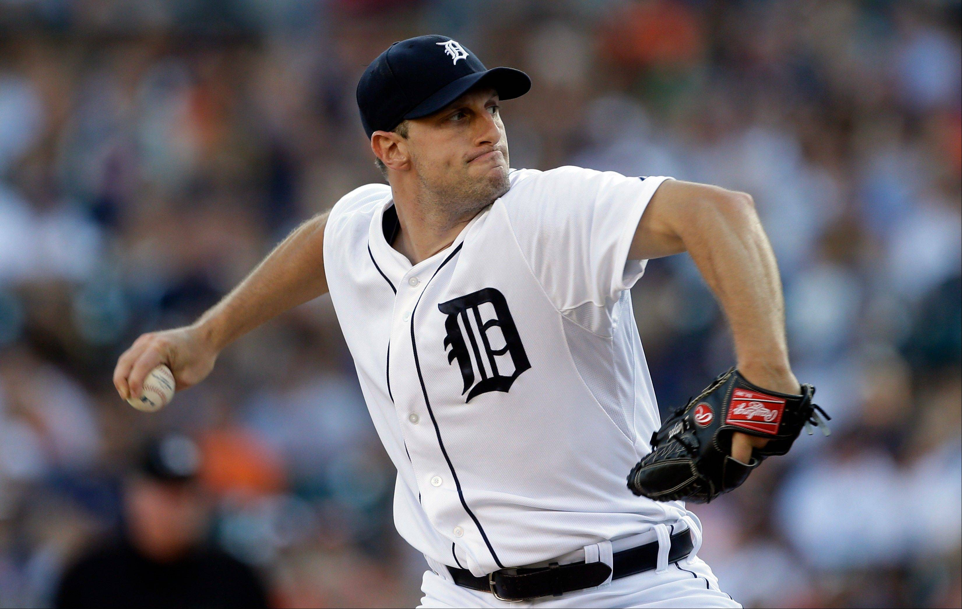 Detroit Tigers starting pitcher Max Scherzer throws Saturday during the first inning against the Texas Rangers in Detroit.