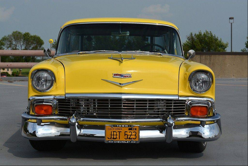 The Zinc Yellow exterior helps keep the Stevens' 1956 Nomad drivable, both for is ability to mask scratches and the ease of repairing the single-stage paint job.