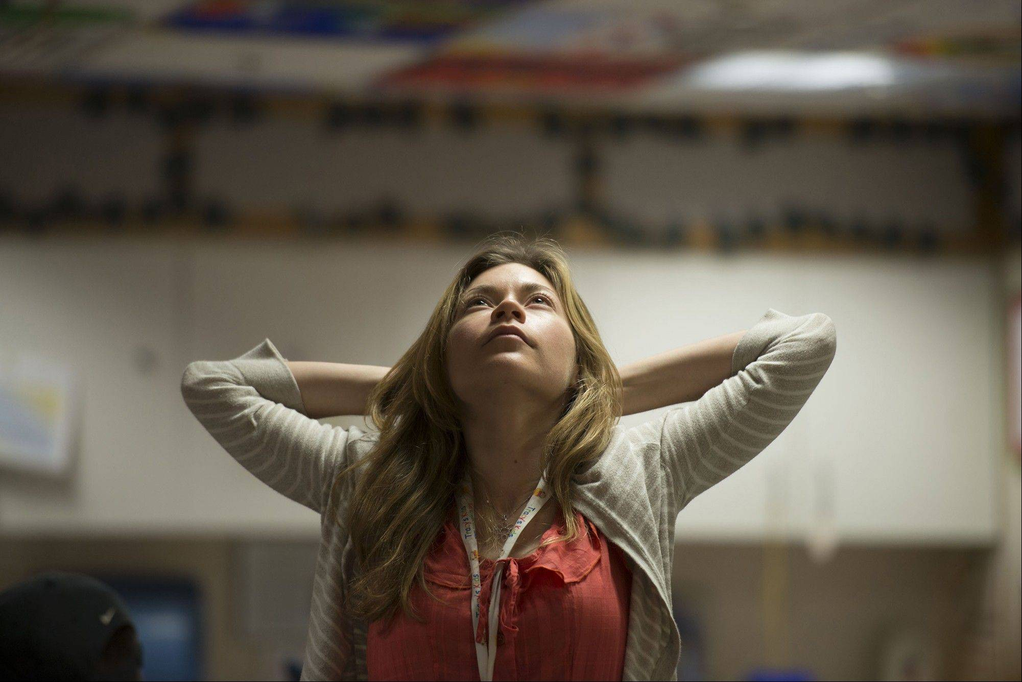 Nurse Kate Martin takes a moment out of her schedule to do some breathing and stretching exercises inside the Georgetown Lombardi Comprehensive Cancer Center in Washington, D.C.