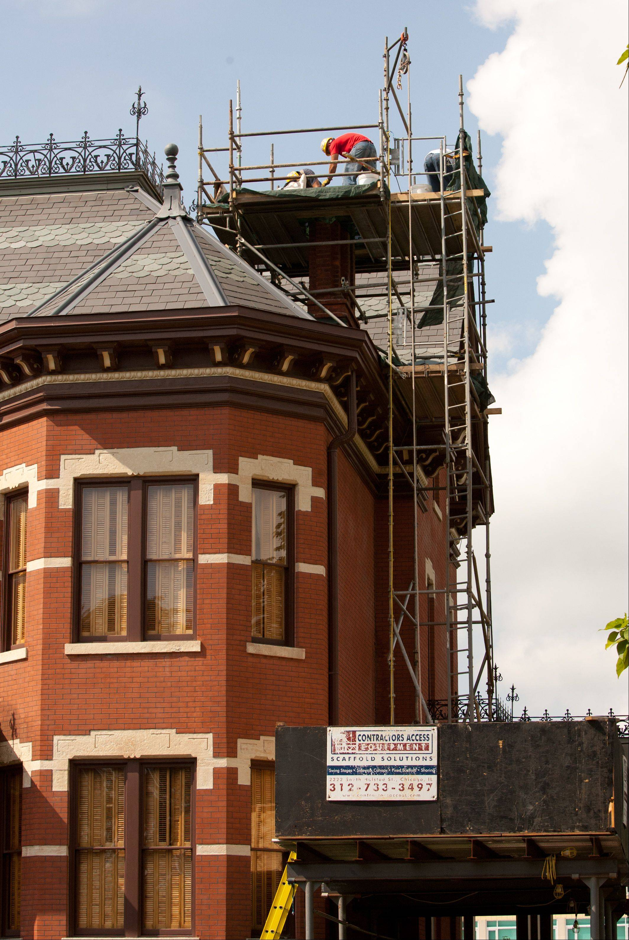 Naper Settlement's Martin Mitchell Mansion is undergoing emergency chimney repairs to fix problems found during a building assessment that began in May.