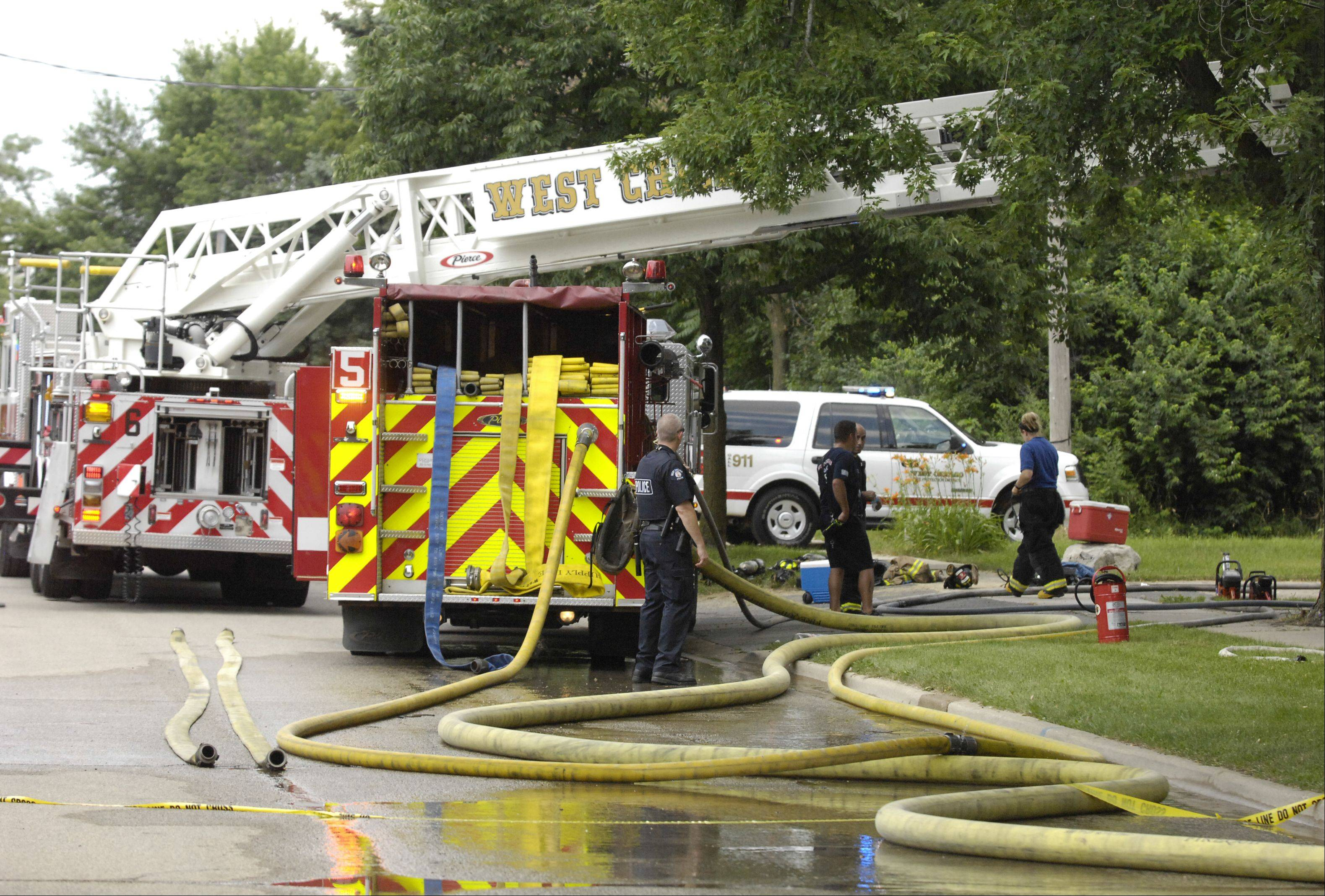 West Chicago firefighters still are trying to determine what sparked a fire Monday morning at a home-based insurance company.