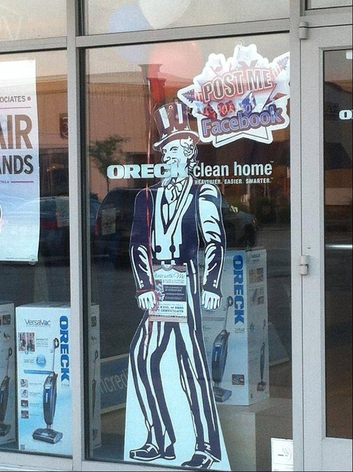 Throughout July, cardboard cutouts of the Founding Fathers and Uncle Sam will grace store windows at Algonquin Commons. If you take a photo of one and post it to the shopping center's Facebook page, you will be entered to win a gift certificate to the mall.
