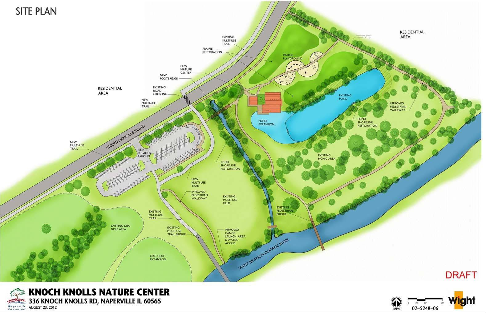A 5,000-square-foot nature center will be built at the northwest corner of Knoch Knolls park in south Naperville as the park district improves the site with an upgraded canoe launch, trail connections, a new permeable paver parking lot and an expanded disc golf course.