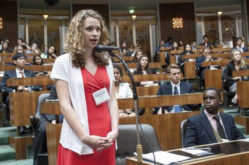 Madeline Loch, 17, addresses members of the Austrian Parliament during the Global Youth Leadership Conference in Vienna, Austria.