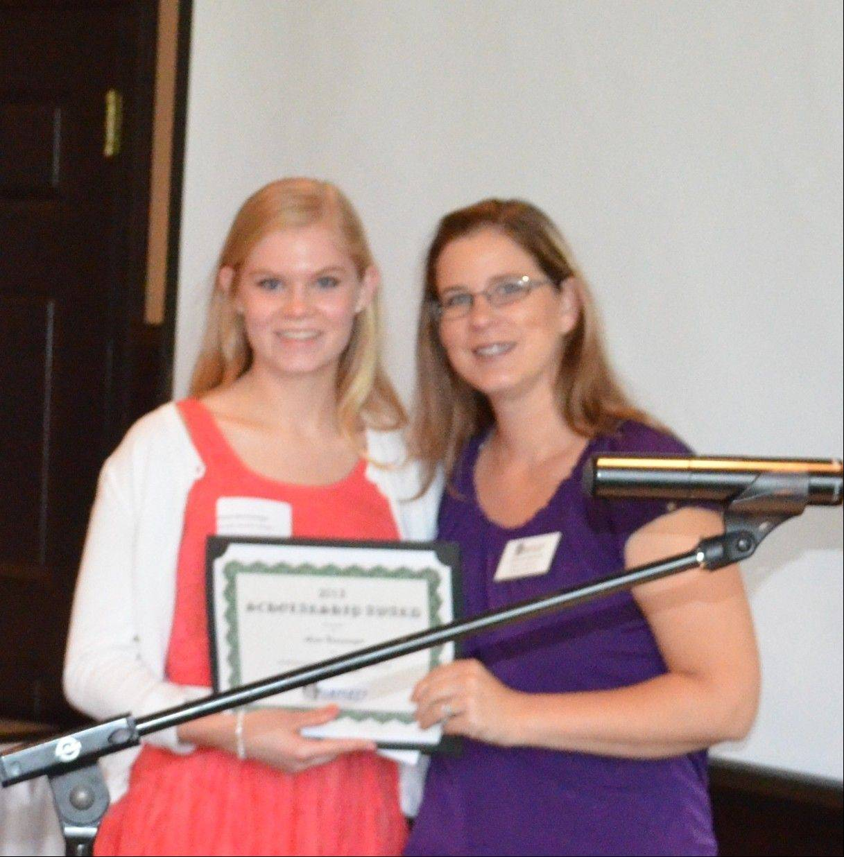 Bartlett Chamber of Commerce scholarship winner Alena Neuswanger, left, with Nicole Ohlson, Bartlett Chamber of Commerce board member and owner of Jumphouse Rental 4 Less.