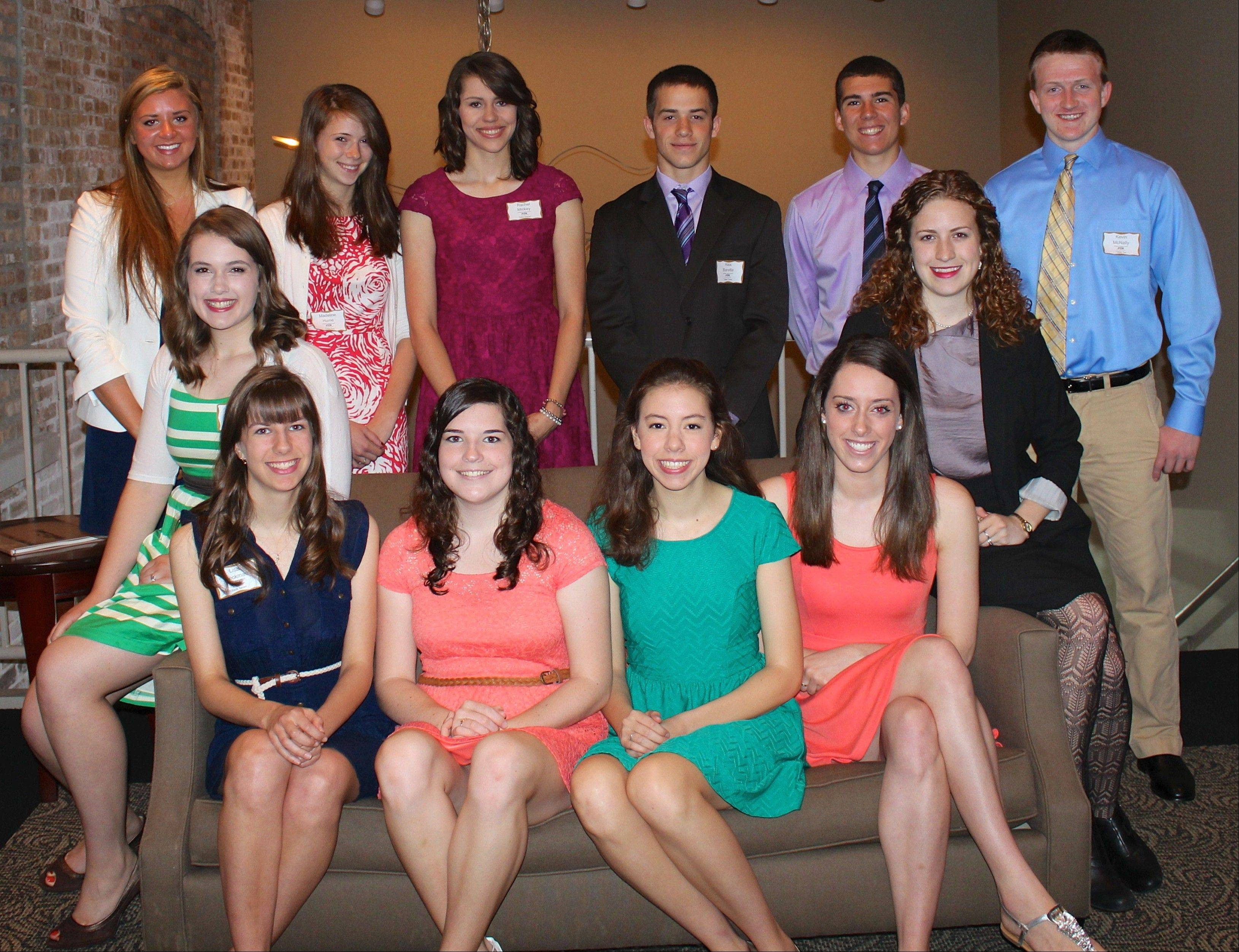2013 Arlington Heights Council of PTAs scholarship recipients, from left, are: Back row: Caylee Mahon, Madeline Hume, Rachel Mickey, Alex Baratta, Nick Schwingbeck and Kevin McNally; Seated: Carolyn DeSalvo, Lisa Dieckman, Noreen Jay, Carolyn Brumm, Lauren Nagle and Katelyn Kiner. Not pictured: Annie Dunn.
