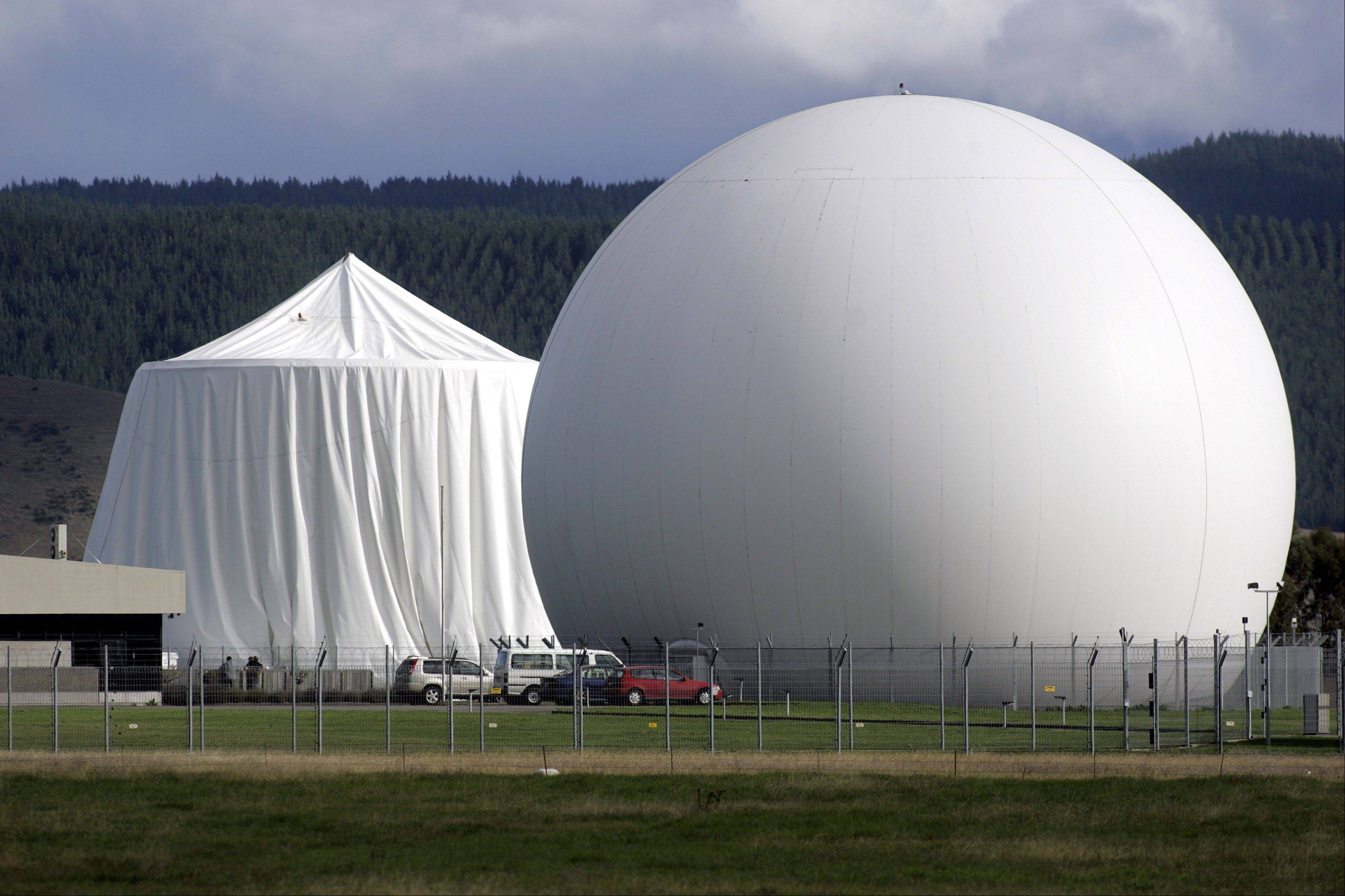 This photo from 2008 shows a satellite communications dome at Waihopai satellite communications interception station near Blenheim, New Zealand. Waihopai satellite communications is part of a surveillance spying alliance known as Five Eyes that groups together five English-speaking democracies � the U.S., Britain, Canada, Australia and New Zealand.