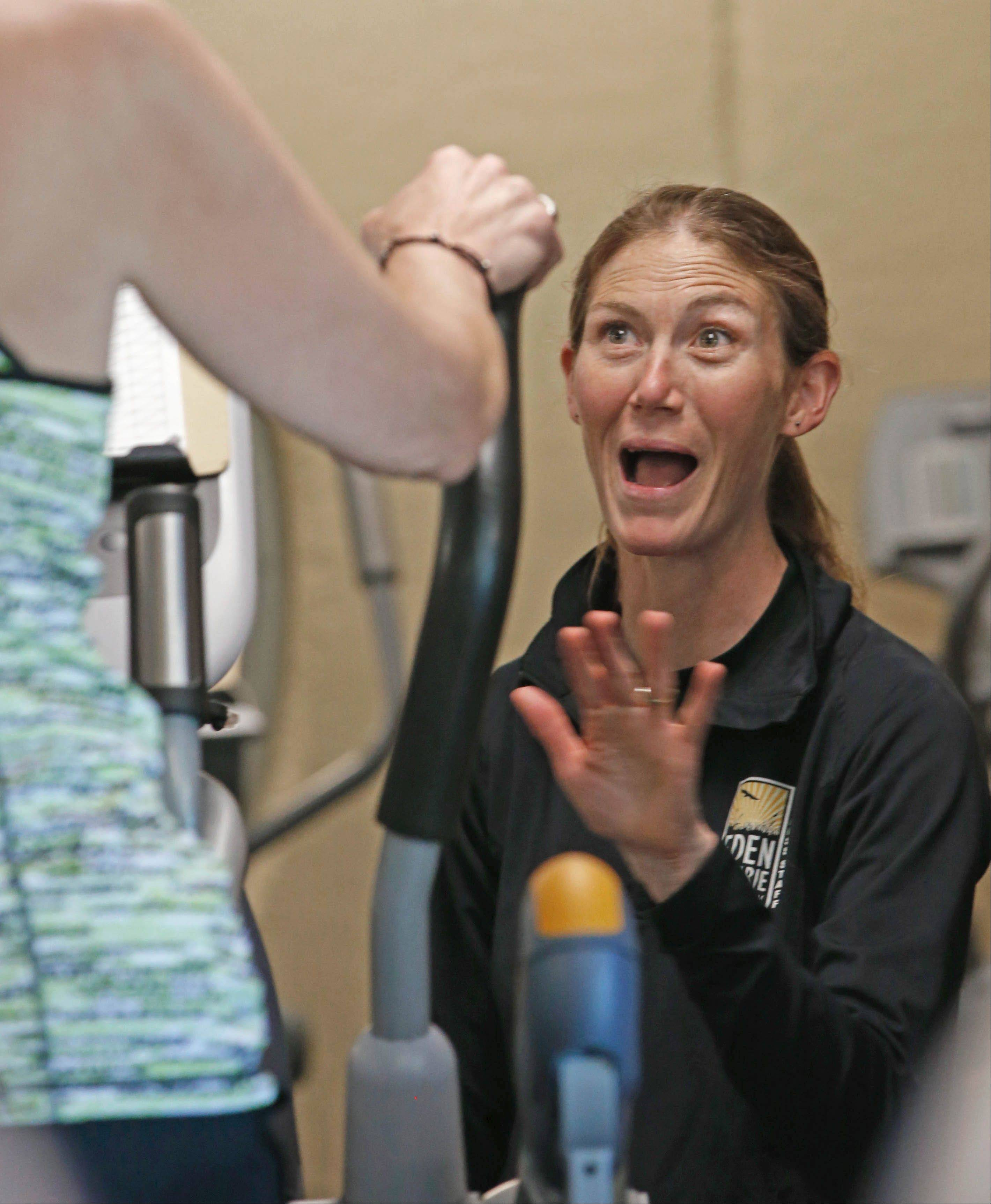 Trainer Kara Jeter talked with class members during the fitness program for cancer survivors at the Eden Prairie Community Center in Minnesota.