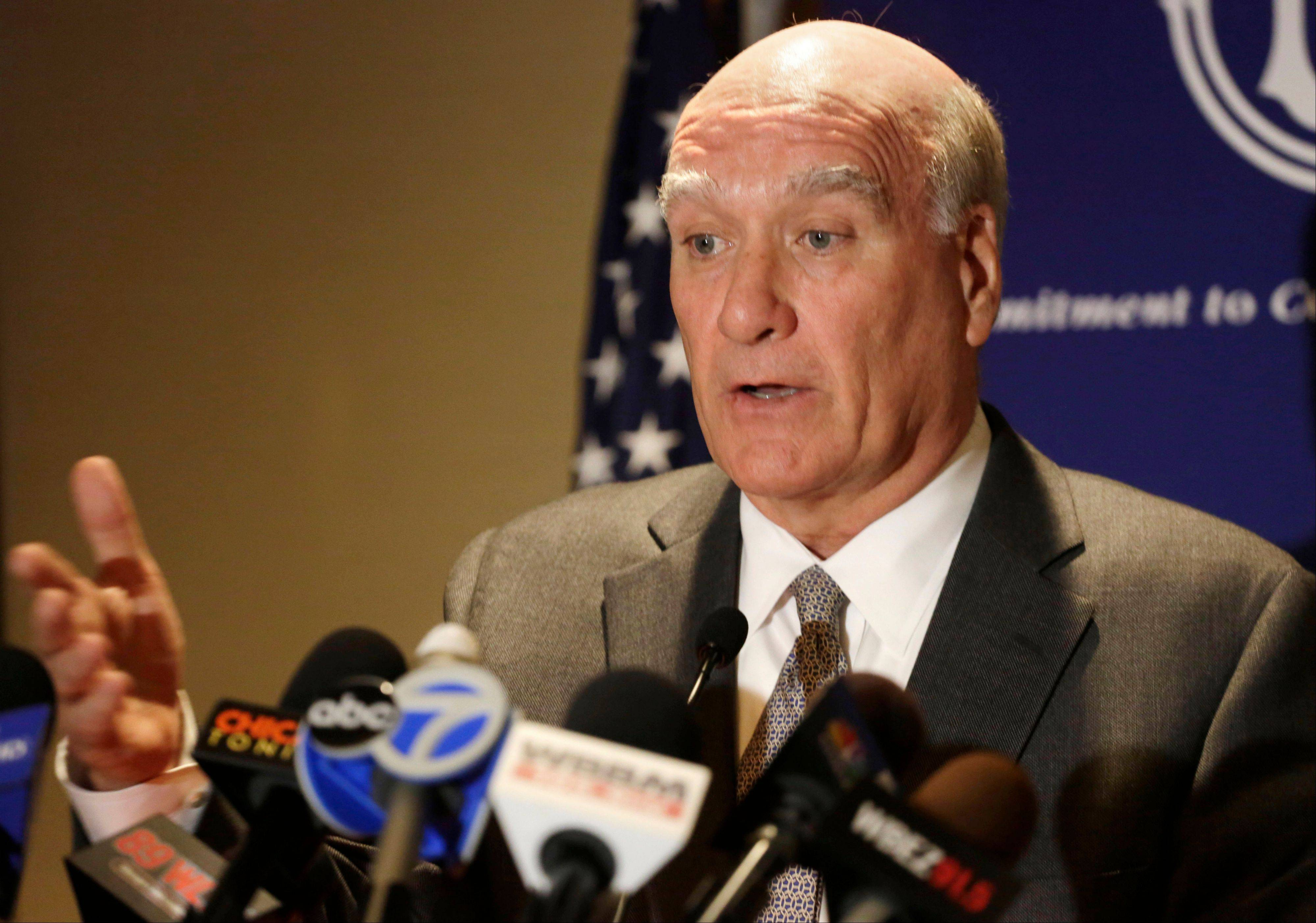 Former White House chief of staff Bill Daley, who is running challenging Illinois Gov. Pat Quinn, speaks at a news conference in Chicago.
