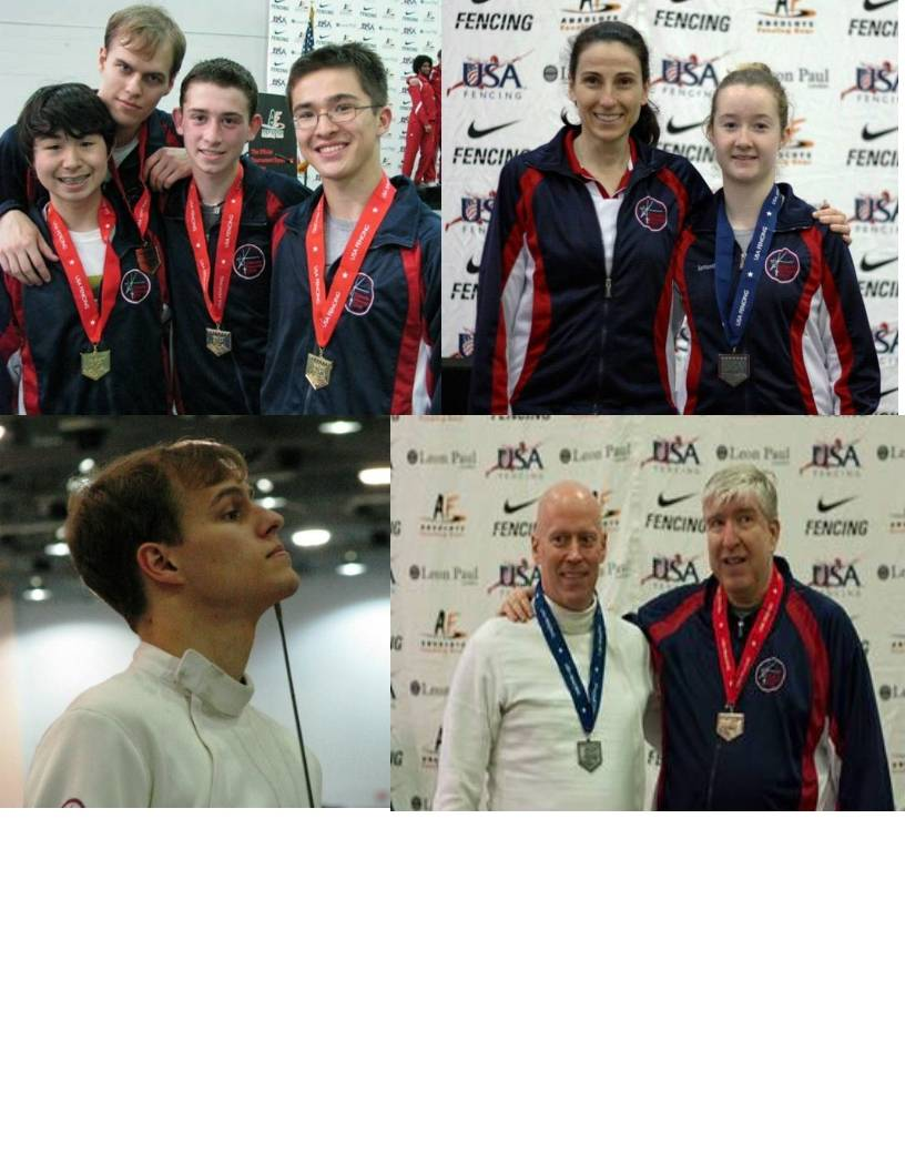 From the top left: Men's Senior Gold Medal Epee Team: Sasha Heber, Maciek Zmyslowski, Gabe Weininger, Misha Heber top right: Coach Ina Harizanova with Sammie Doro bottom left: Maciek Zmyslowski  bottom right: John Lartz and Tim Glass