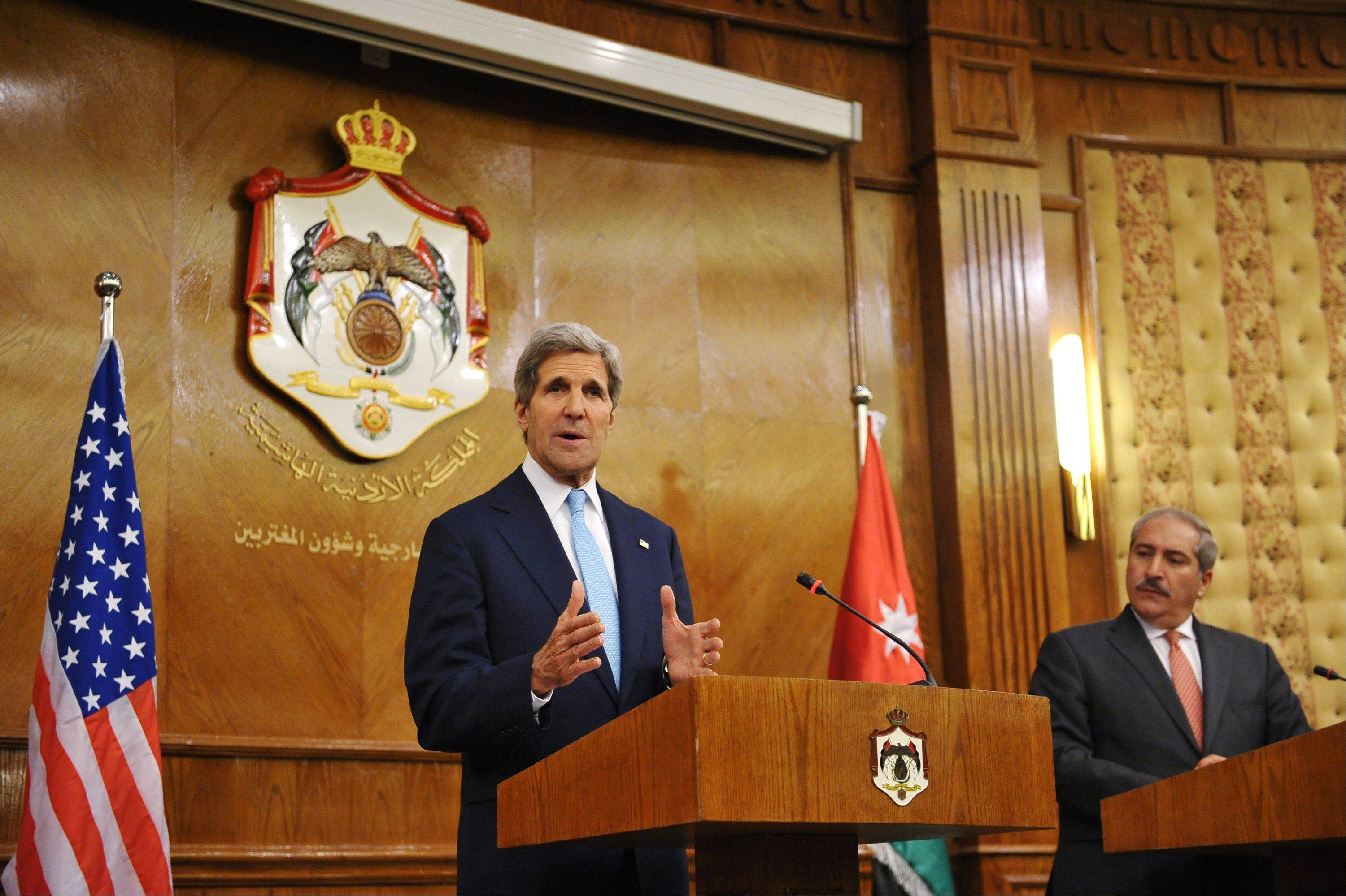 U.S. Secretary of State John Kerry speaks during a joint news conference with Jordan�s Foreign Minister Nasser Judeh on Wednesday, July 17, 2013 at the Ministry of Foreign Affairs in the Jordanian capital, Amman. Kerry won Arab League backing Wednesday for his effort to restart Israeli-Palestinian peace talks, raising hopes for a quick resumption in the stalled negotiations.