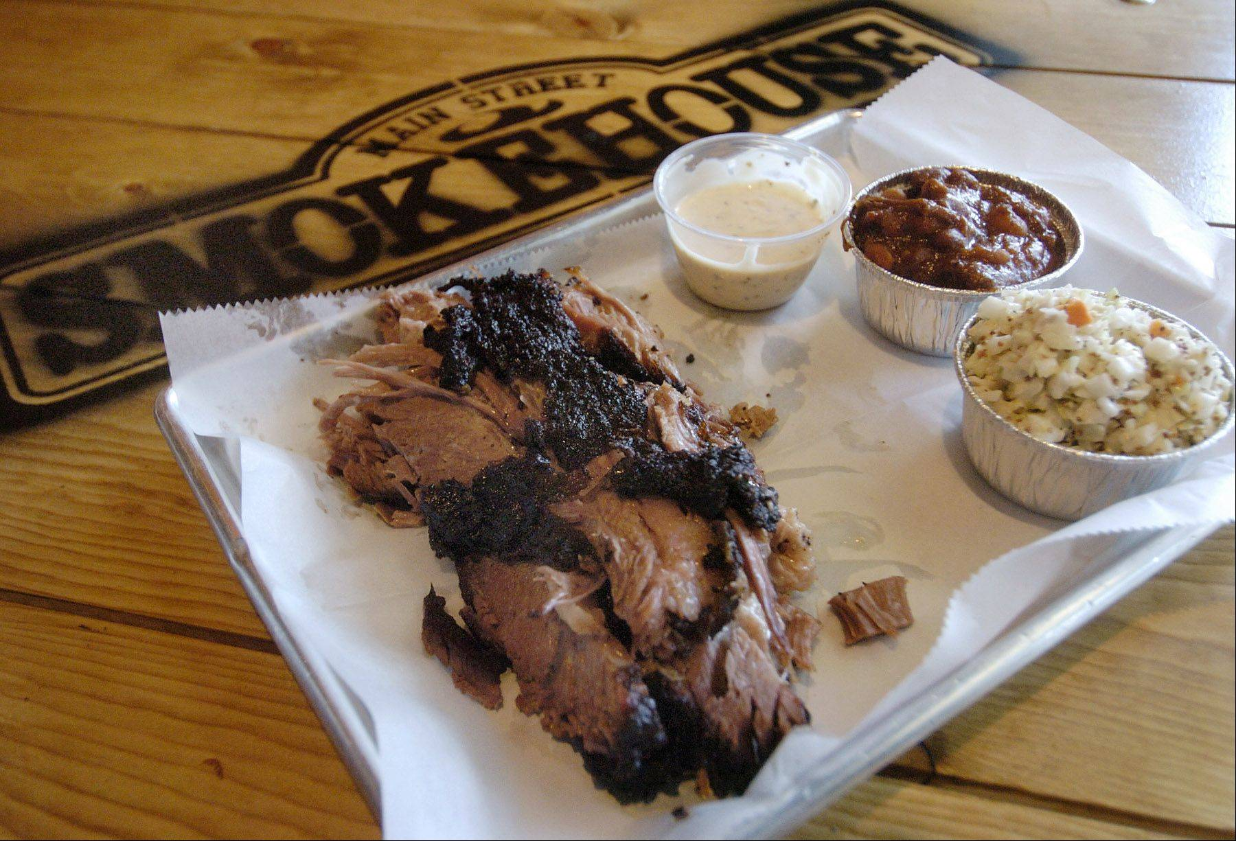 The smoked Texas-style brisket at Main Street Smokehouse in Libertyville is the best around.