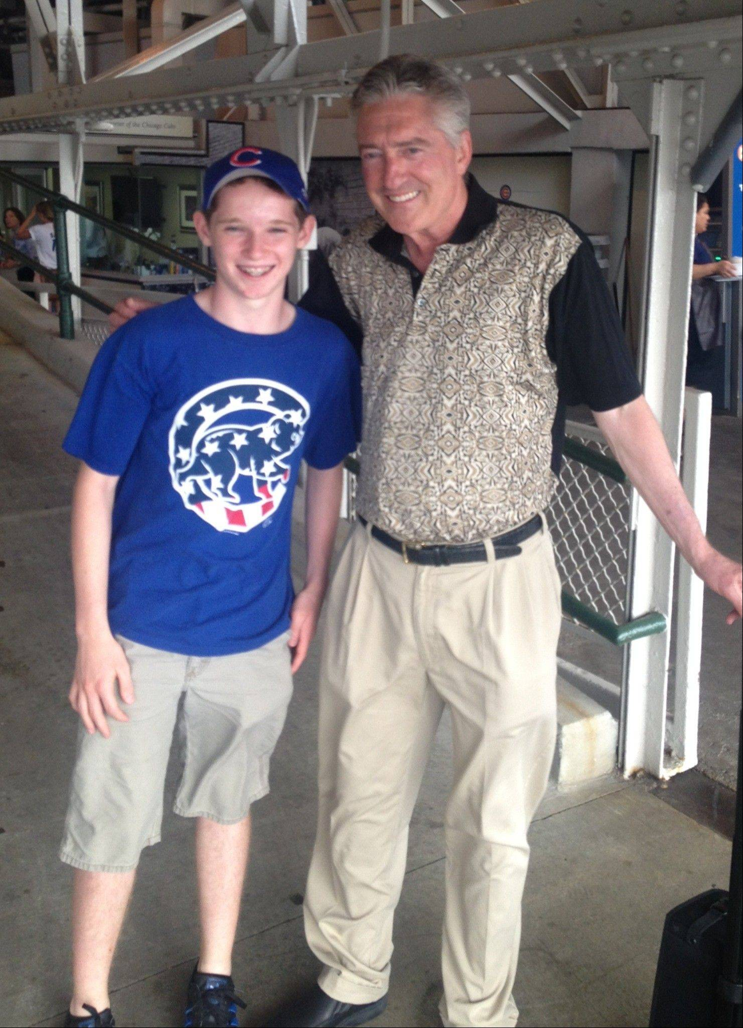 Pat Hughes and Daniel Gerardi of Arlington Heights, in the press box at Wrigley Field.