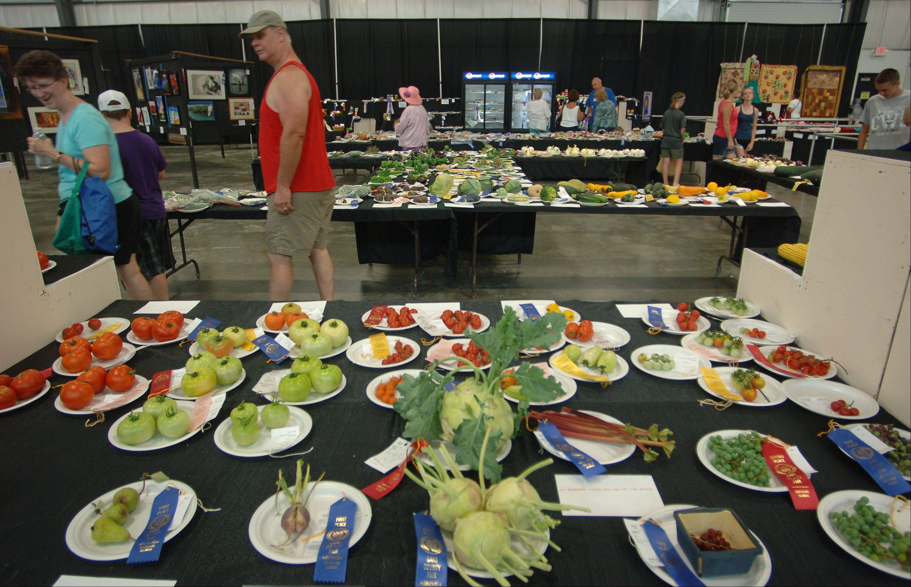 Fairgoers get a glimpse of prize-winning vegetables at the Lake County Fair in Grayslake.