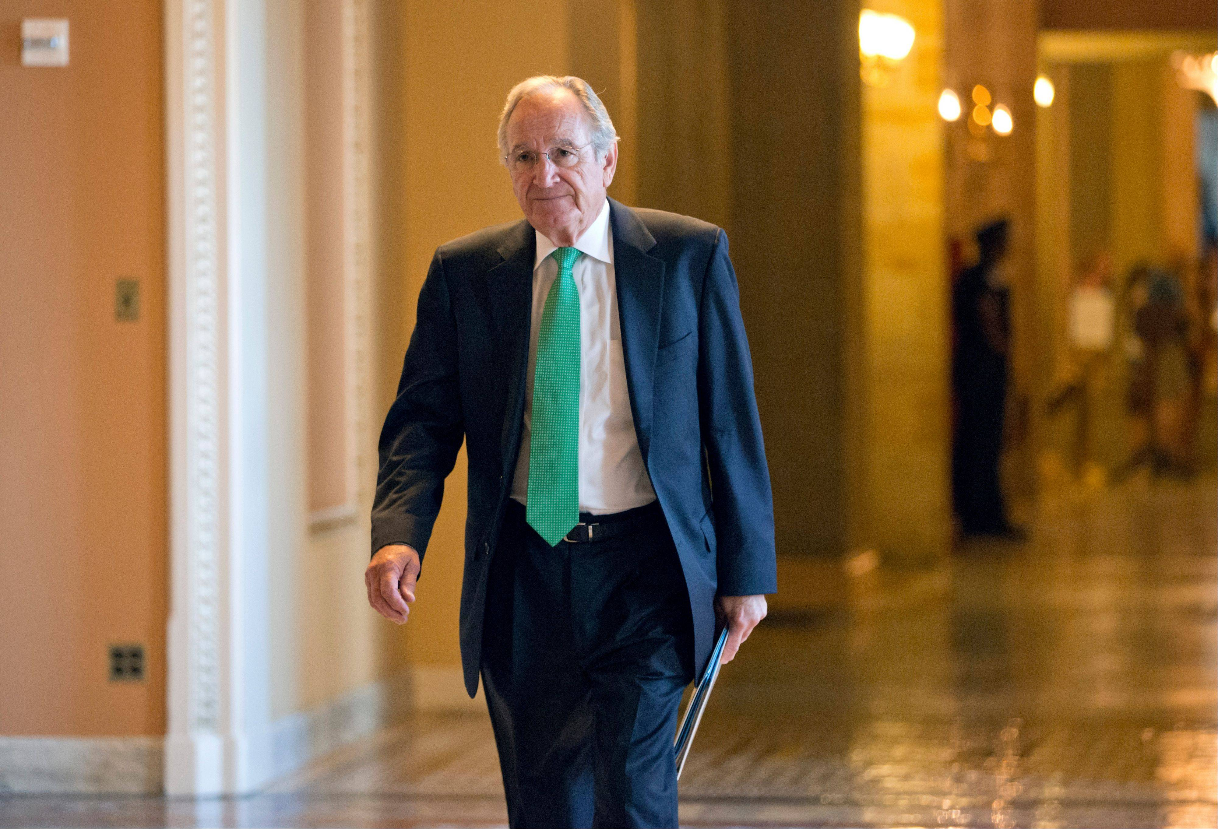 Sen. Tom Harkin, the Iowa Democrat who chairs the Senate's Education Committee, returns to the chamber at the Capitol. Senators are ready to offer students a better deal on their college loans this fall, but future classes could see higher interest rates.