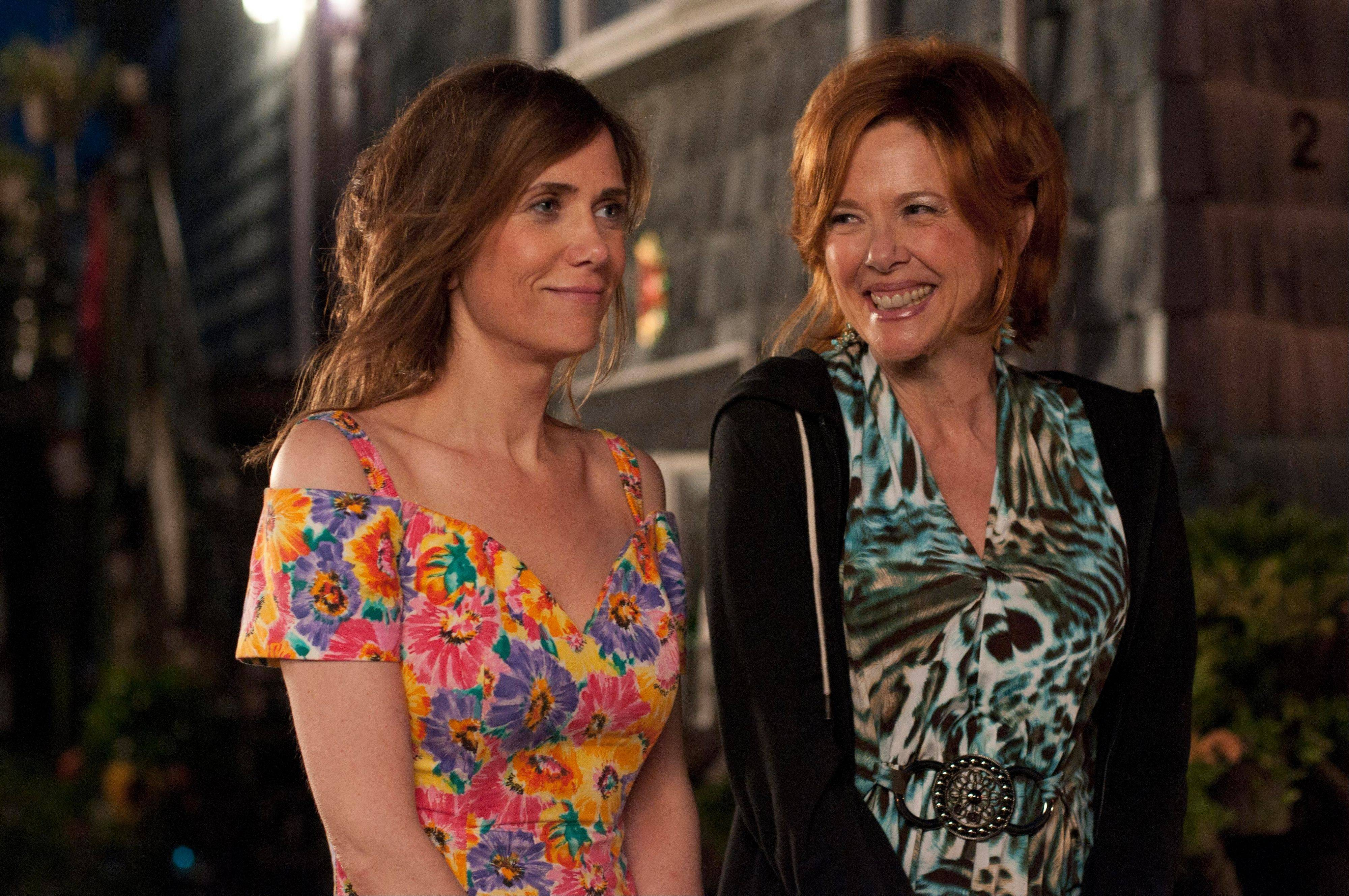 "Imogene (Kristen Wiig), left, and her mother Zelda (Annette Bening) share a cautious moment in the comic drama ""Girl Most Likely."""