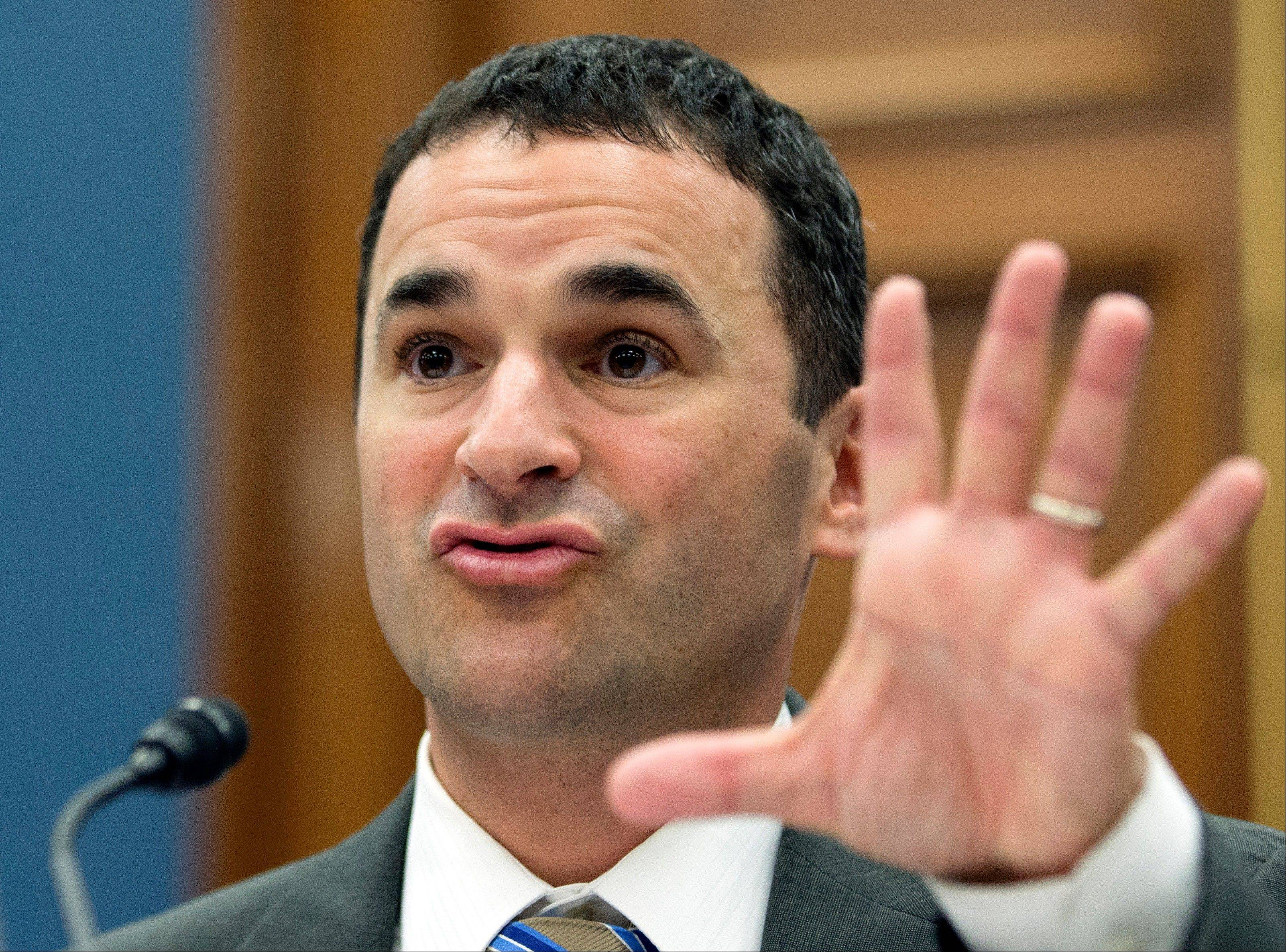 Internal Revenue Service acting head Daniel Werfel testifies before the House Small Business Committee regarding the IRS' targeting of conservative political groups on Capitol Hill Wednesday>