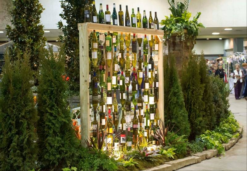 Big art for outdoor living for Outdoor decorating with wine bottles
