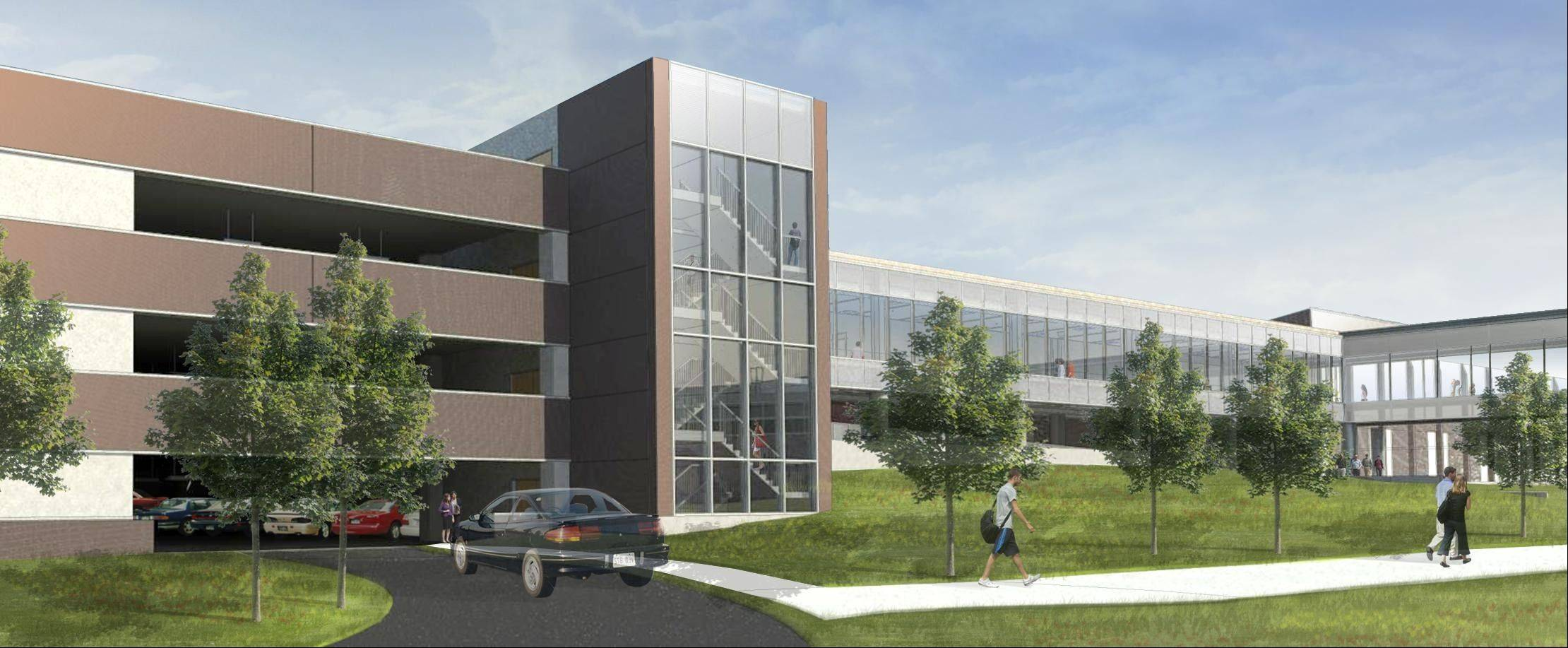 A four-story parking garage will be built at Harper College in Palatine.