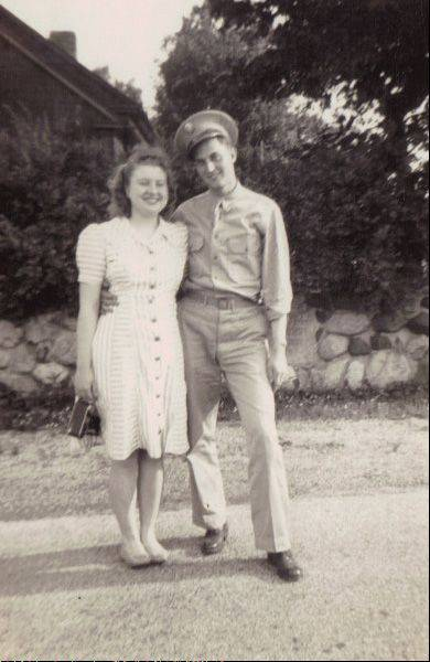"John J. Schmitz is pictured here with his wife Gladys in an undated photo. He and his brother-in-law, Bernard ""Barney"" Media, helped form the Pingree Grove & Countryside Fire Protection District in 1947."