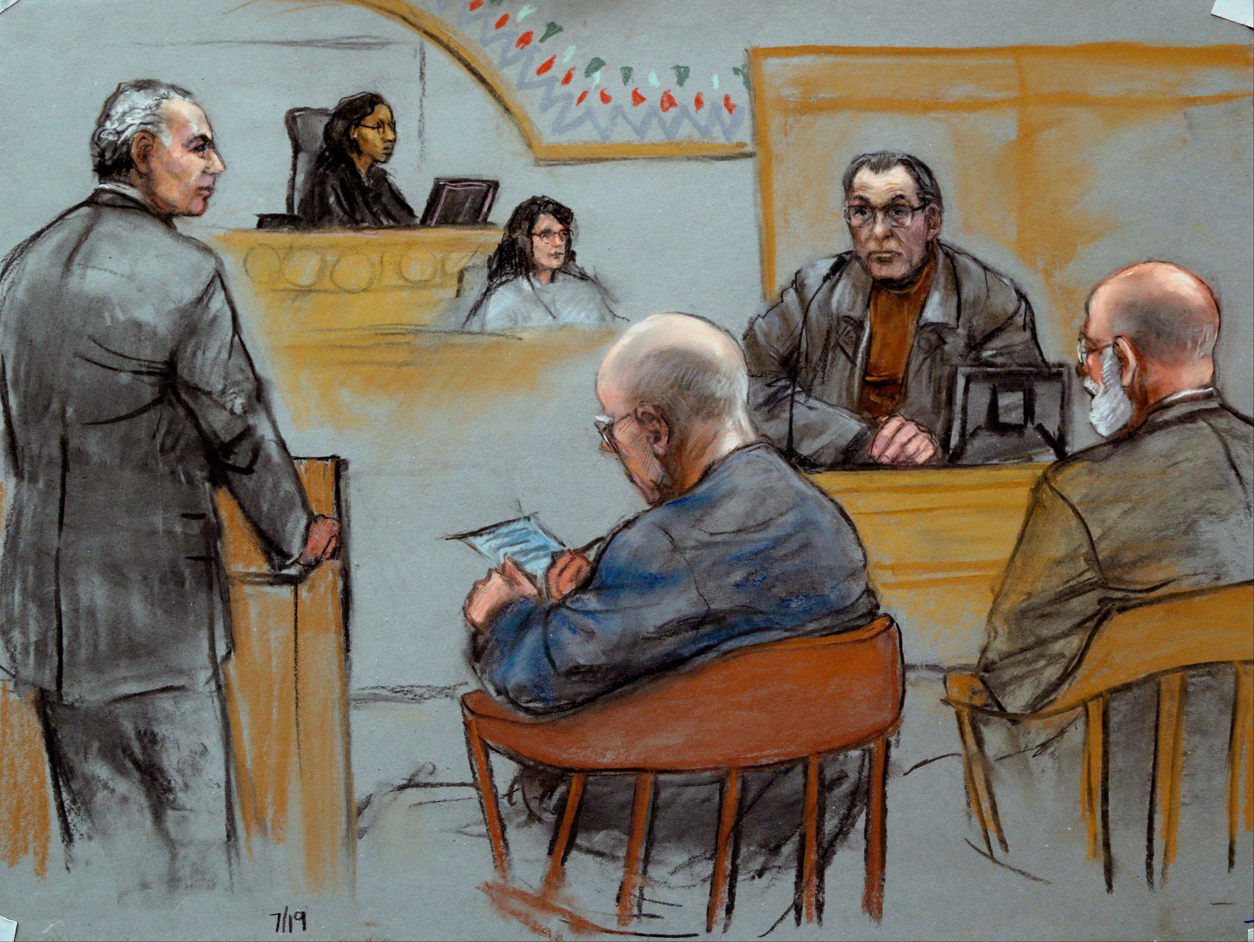 This courtroom sketch depicts Stephen �The Rifleman� Flemmi, upper right, on the witness stand as defendant James �Whitey� Bulger listens, seated middle, next to his defense attorney J. W. Carney Jr., seated far right, while prosecutor Fred Wyshak, standing left, questions Flemmi during Bulger�s racketeering and murder trial.