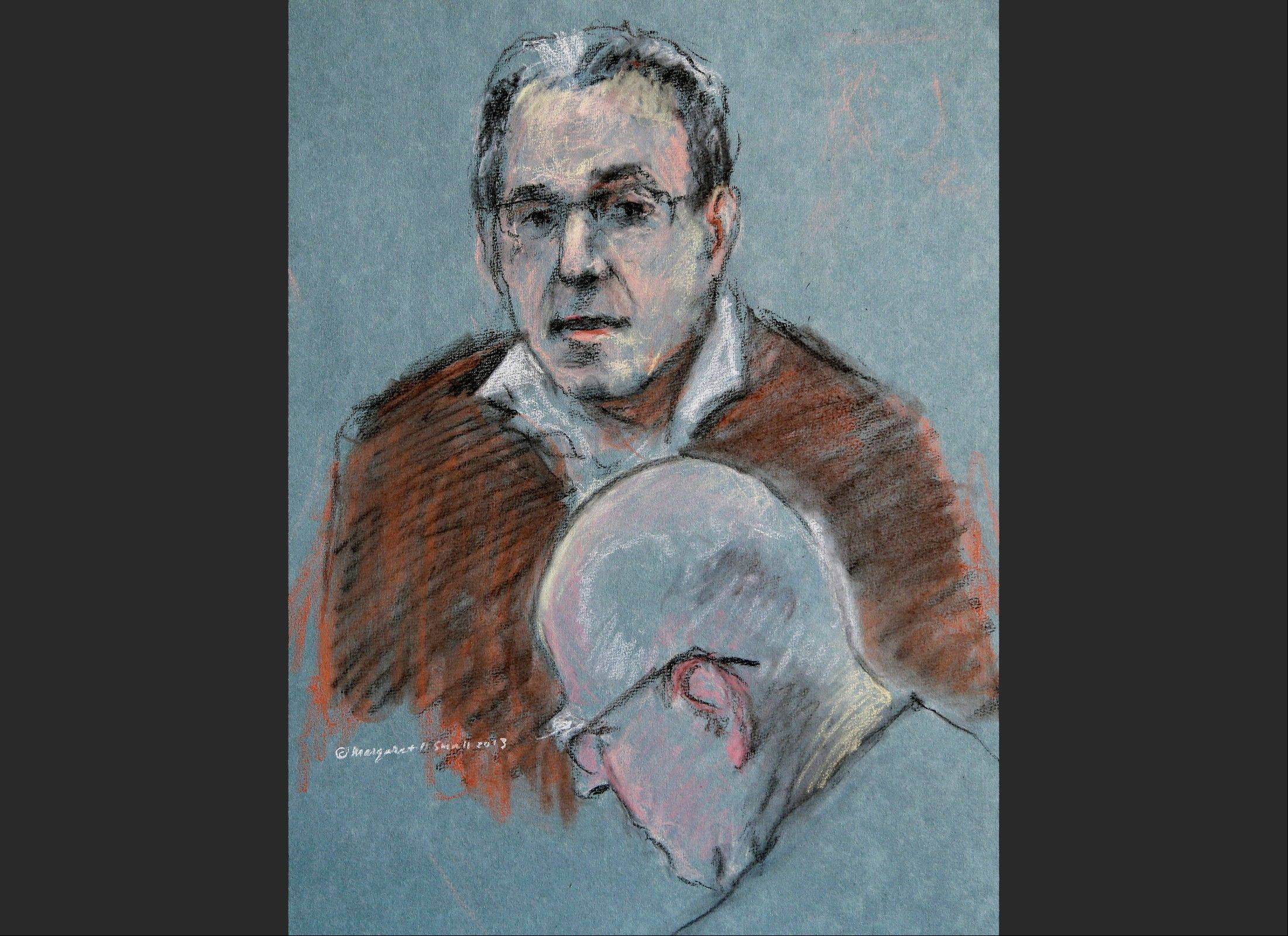 "Associated Press This courtroom sketch depicts Stephen ""The Rifleman"" Flemmi testifying as defendant James ""Whitey"" Bulger listens, below, during his murder and racketeering trial at U.S. District Court in Boston, Thursday, July 18, 2013. Bulger and his former partner faced each other for the first time in nearly two decades Thursday when Flemmi took the stand at Bulger's trial and told of their years as secret FBI informants while they ran a feared gang in South Boston."