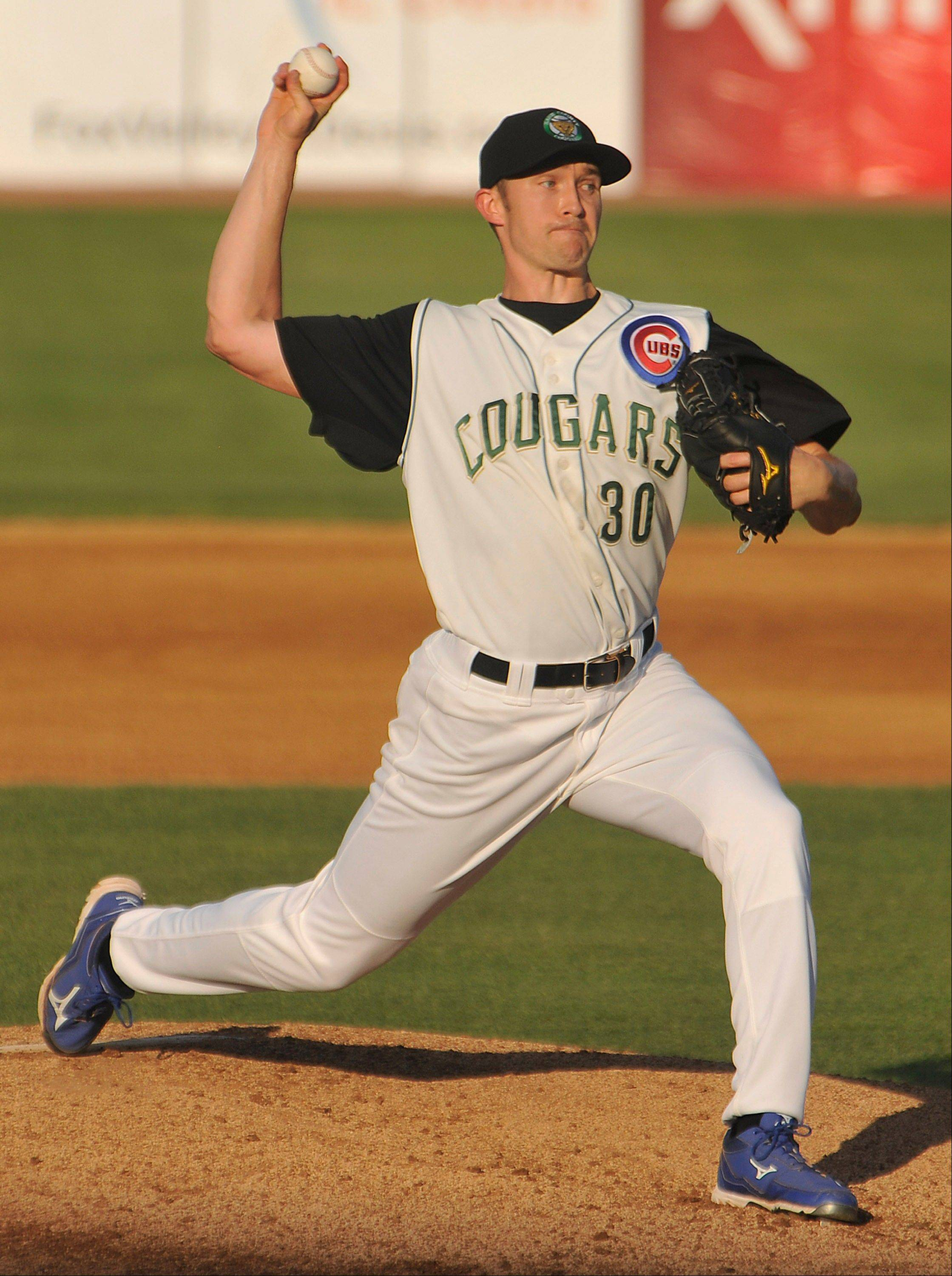 Cubs right hander Scott Baker makes a rehab start Friday for the Kane County Cougars at Fifth Third Ballpark in Geneva on Friday. Baker lasted just 22⁄3 innings, allowing 6 runs on 6 hits.