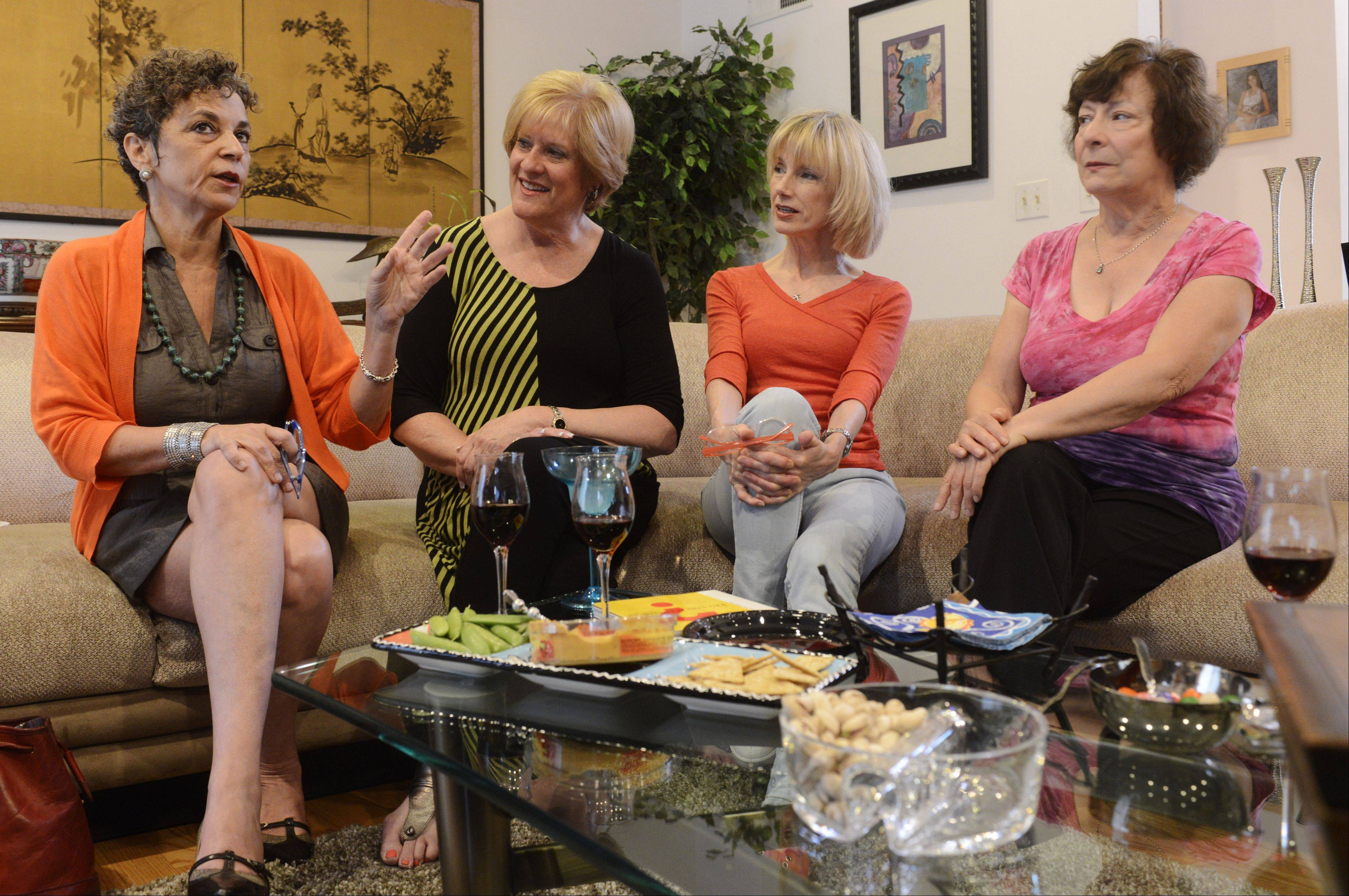 "Caryn Bark, left, Robin Riebman, Pam Peterson and Jan Slavin talk about their comedy show ""Funny Old Broads."""