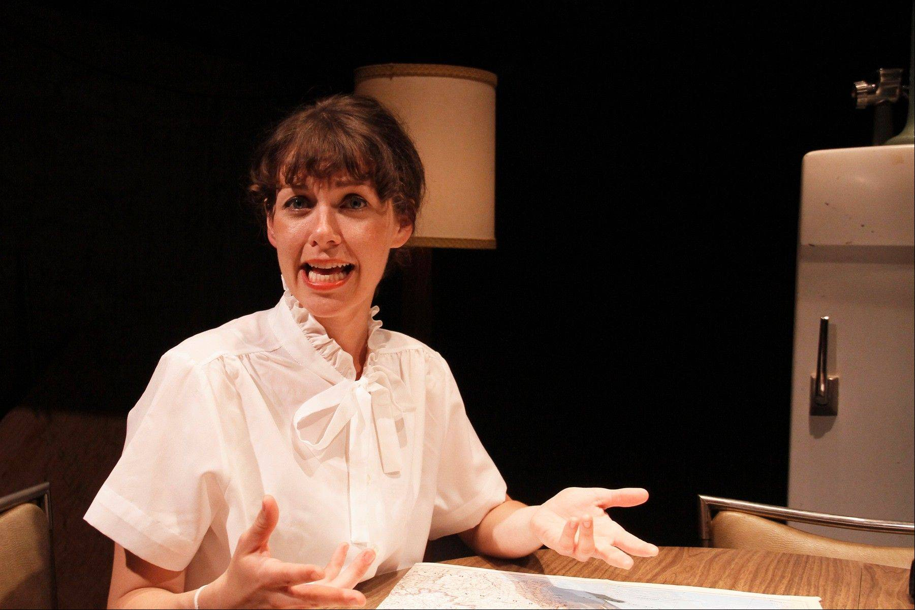 "Marnie (Wheaton native Emily Casey) works for a former military radio host in ""The Casuals."" The 1955 fictional drama is playing at the Storefront Theater in Chicago."