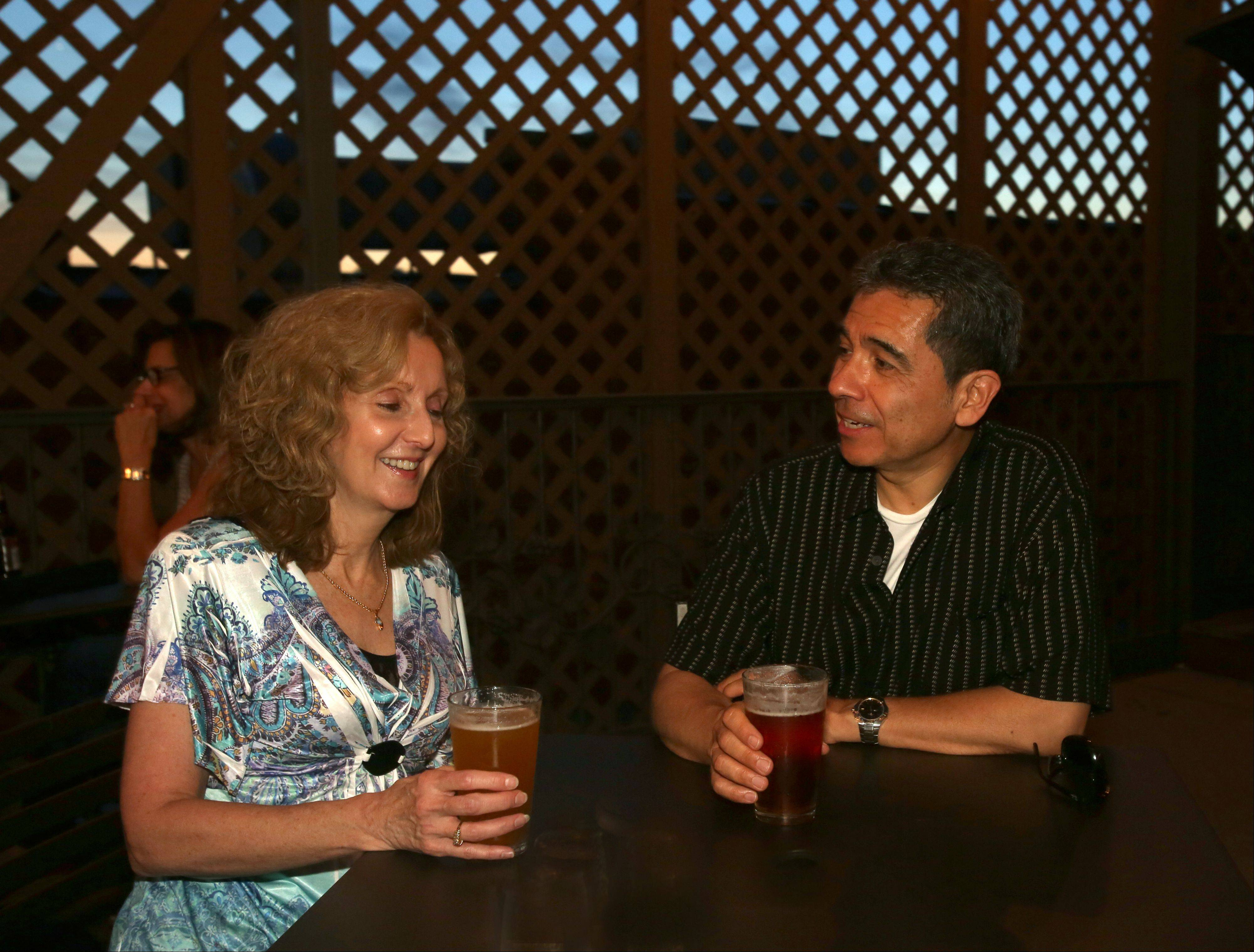 Debbie and Steve Orozco of Naperville enjoy a drink at Wise Boxer.