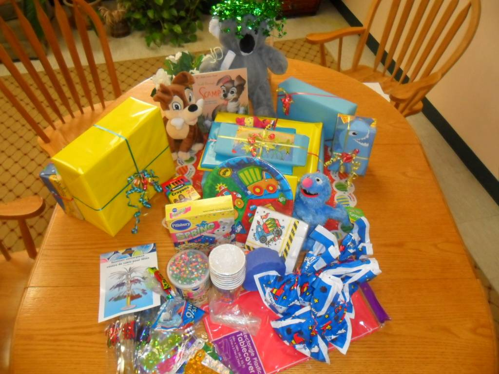The contents of a birthday box for a needy child in HSP's Children's Birthday Project.