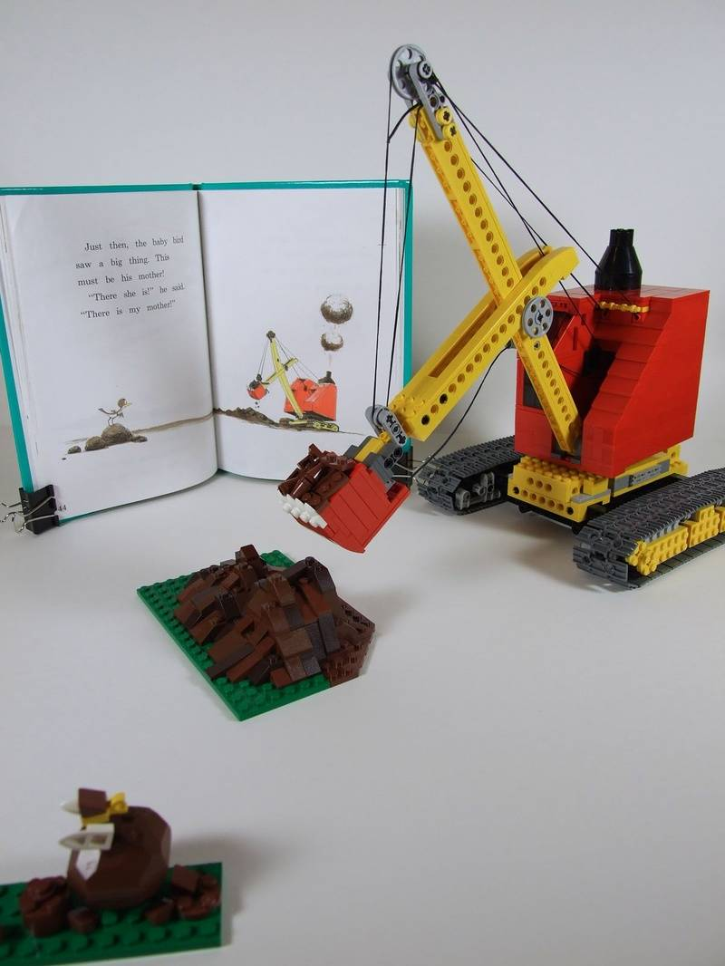 "A steam shovel based on the one in the book, ""Are You My Mother?"" by P.D. Eastman, built by a member of the Chicago Area LEGO Users Group."