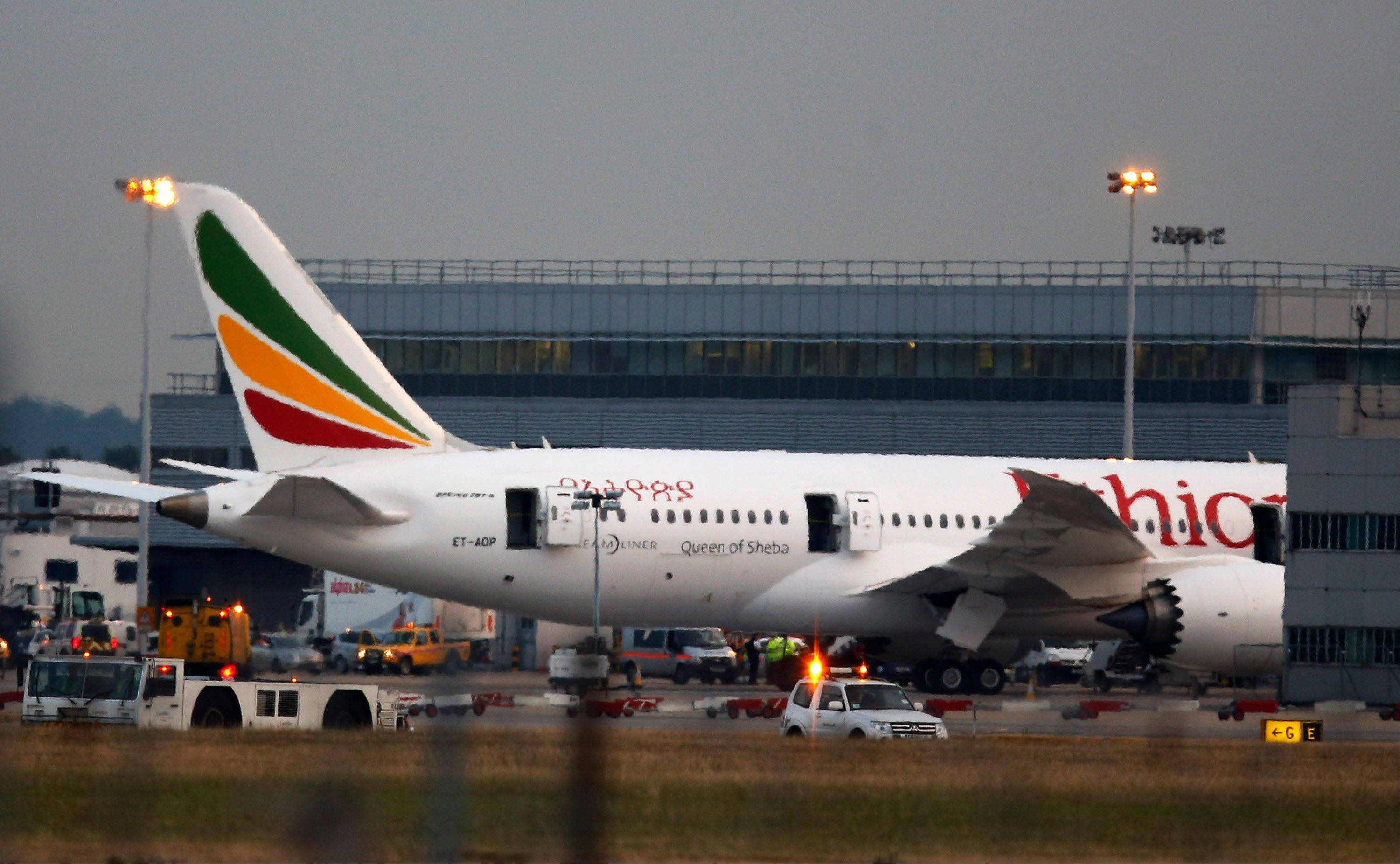 The Air Ethiopian Boeing 787 Dreamliner �Queen of Sheba� plane on the runway near Terminal 3, at Heathrow Airport, London.
