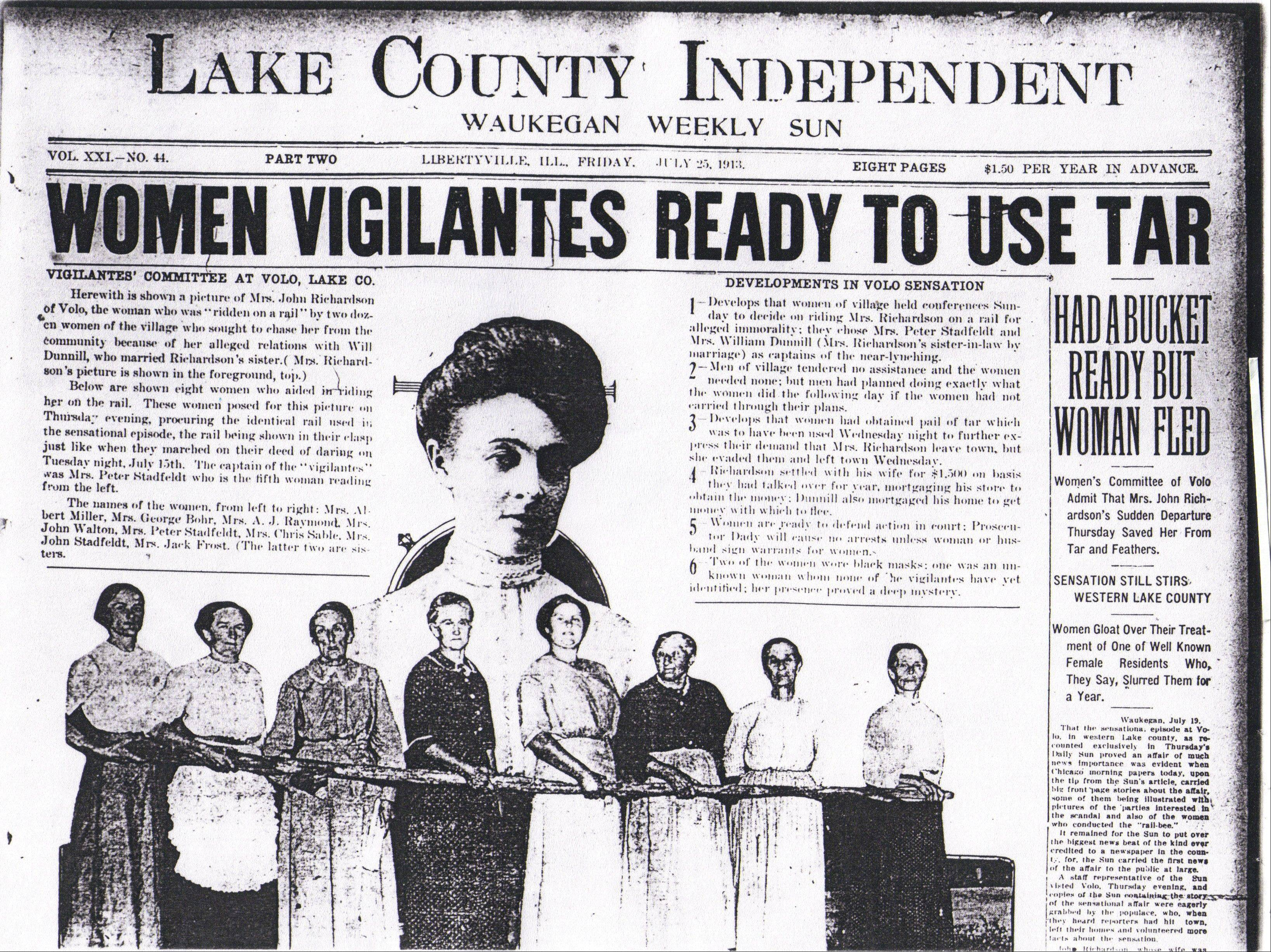 A 1913 edition of the Lake County Independent showcases the Volo vigilante event.