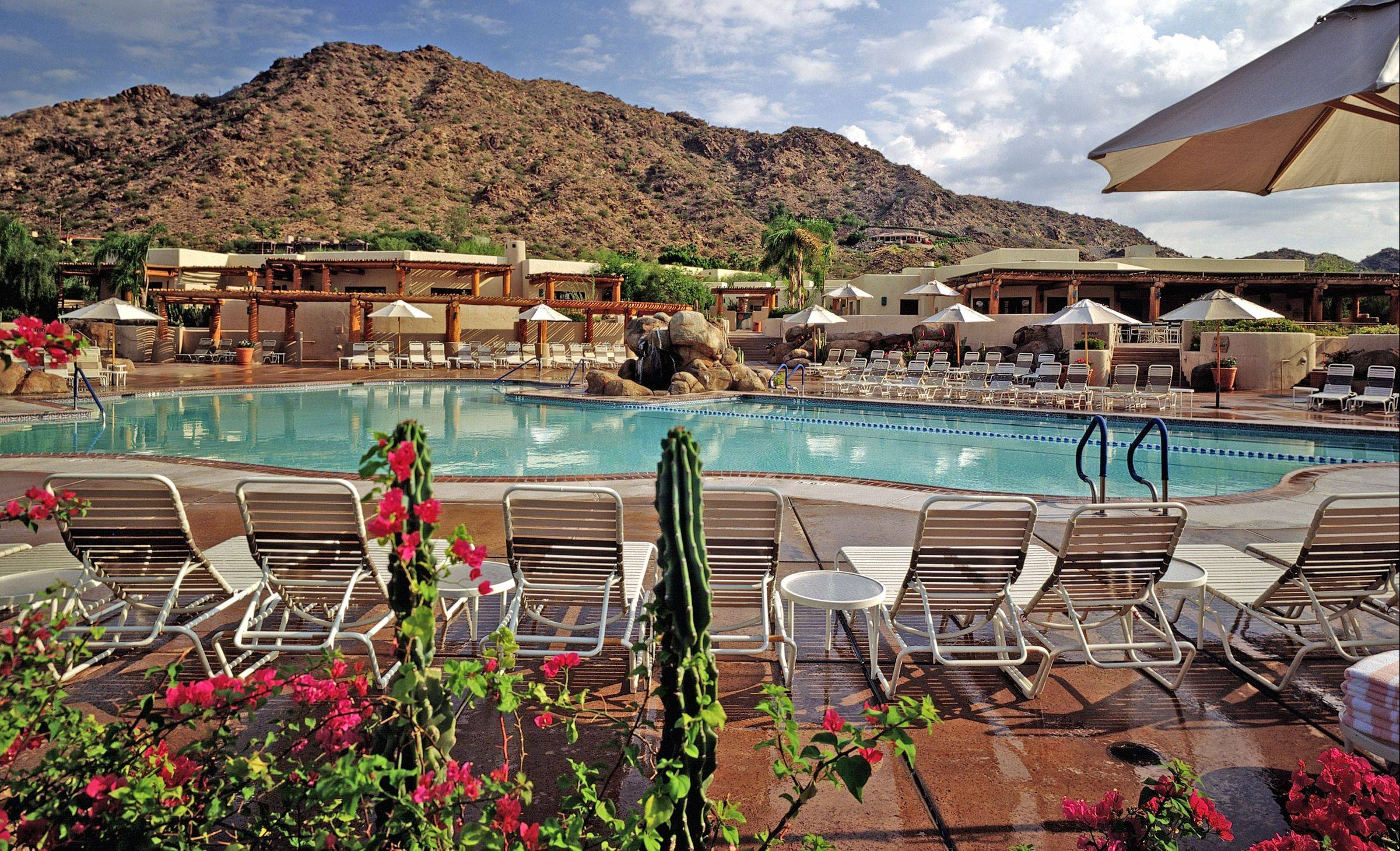 The Jack Rabbit pool at the JW Marriott Camelback Inn Resort & Spa in Scottsdale, Ariz., is a popular place to cool off.