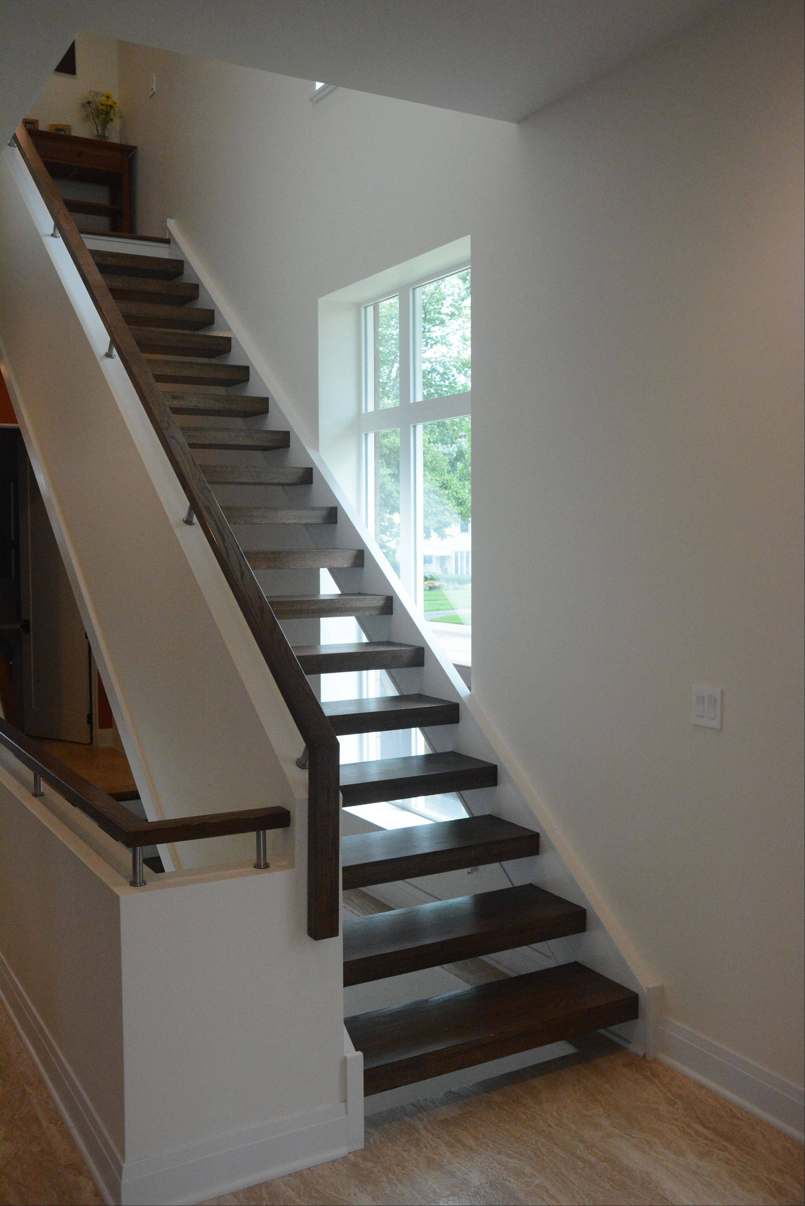 Kenneth and Miranda Turner's house in Arlington Heights features a unique floating staircase.