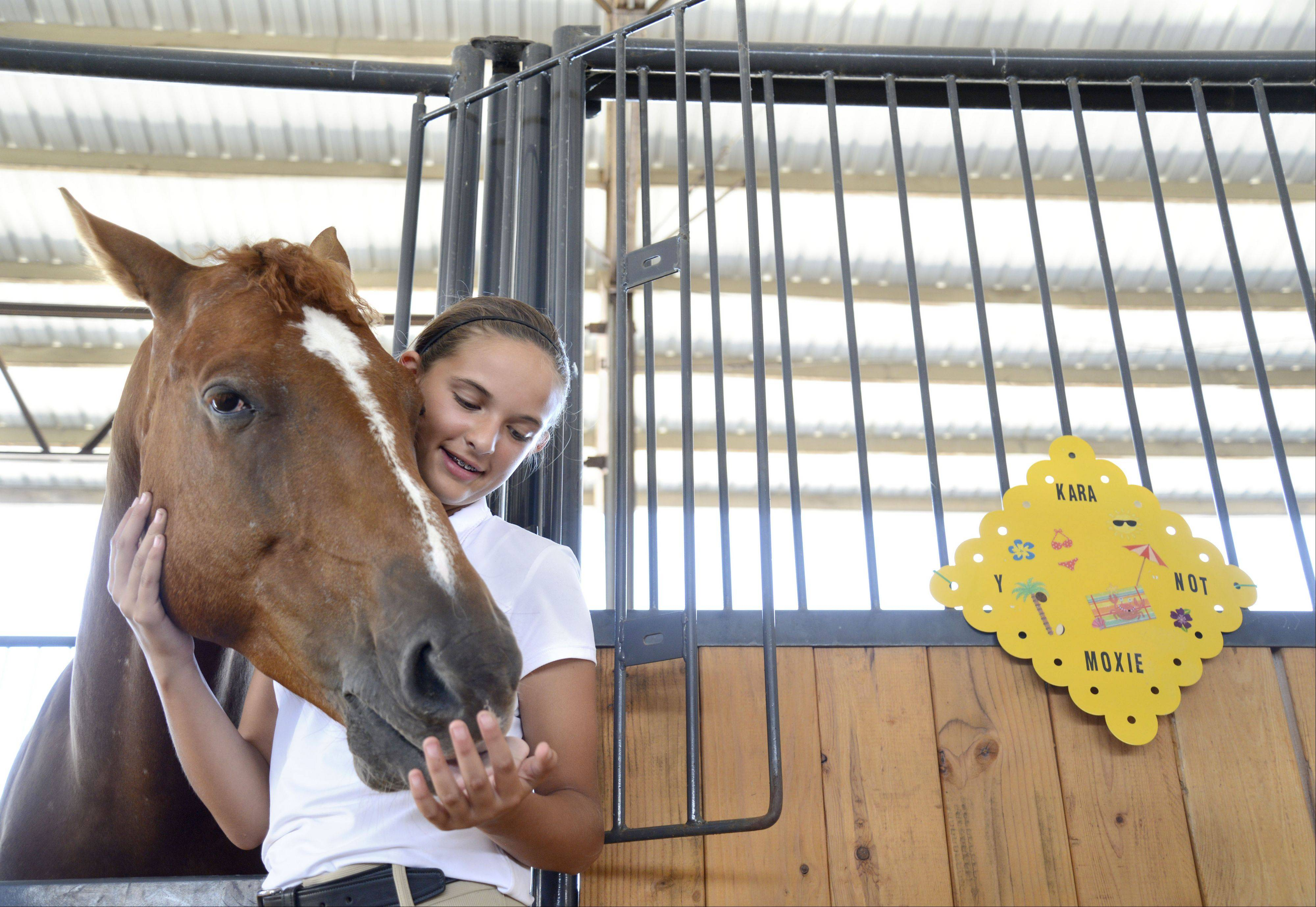 Carli Niesel, 13, of Elgin, cuddles with her horse, Pony, after giving him treats on Saturday at the Kane County Fair in St. Charles. Niesel, who is with the Y-Not 4-H club out of Maple Park, competed in dressage, flat classes and jumping earlier in the morning.